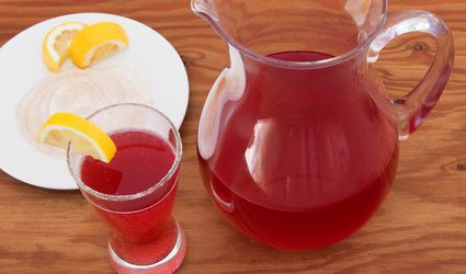 Cranberry Ginger Shandy With Ginger Sugar Rim