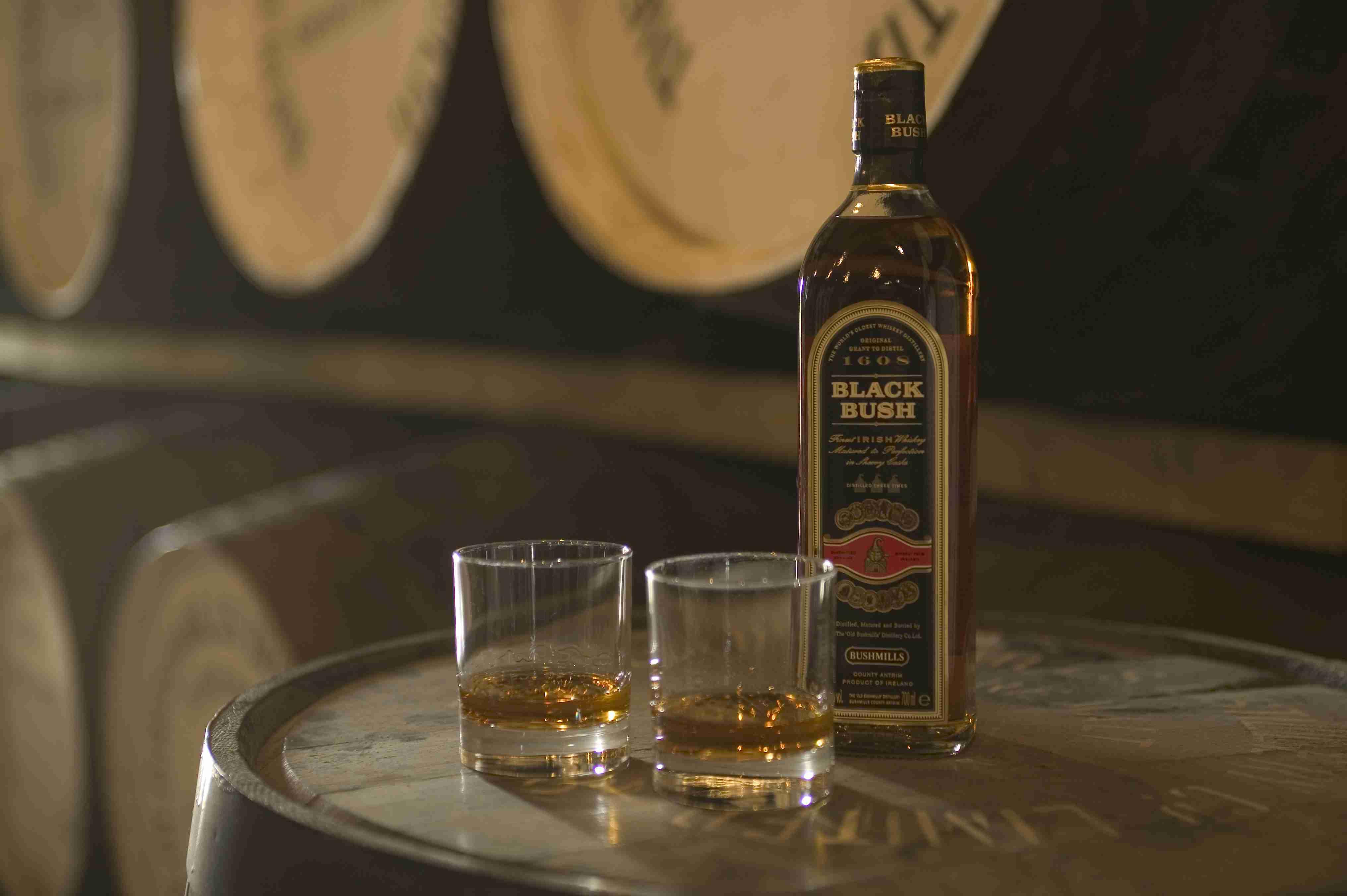 Bushmills whiskey & glasses, Bushmills, County Antrim, Northern Ireland.