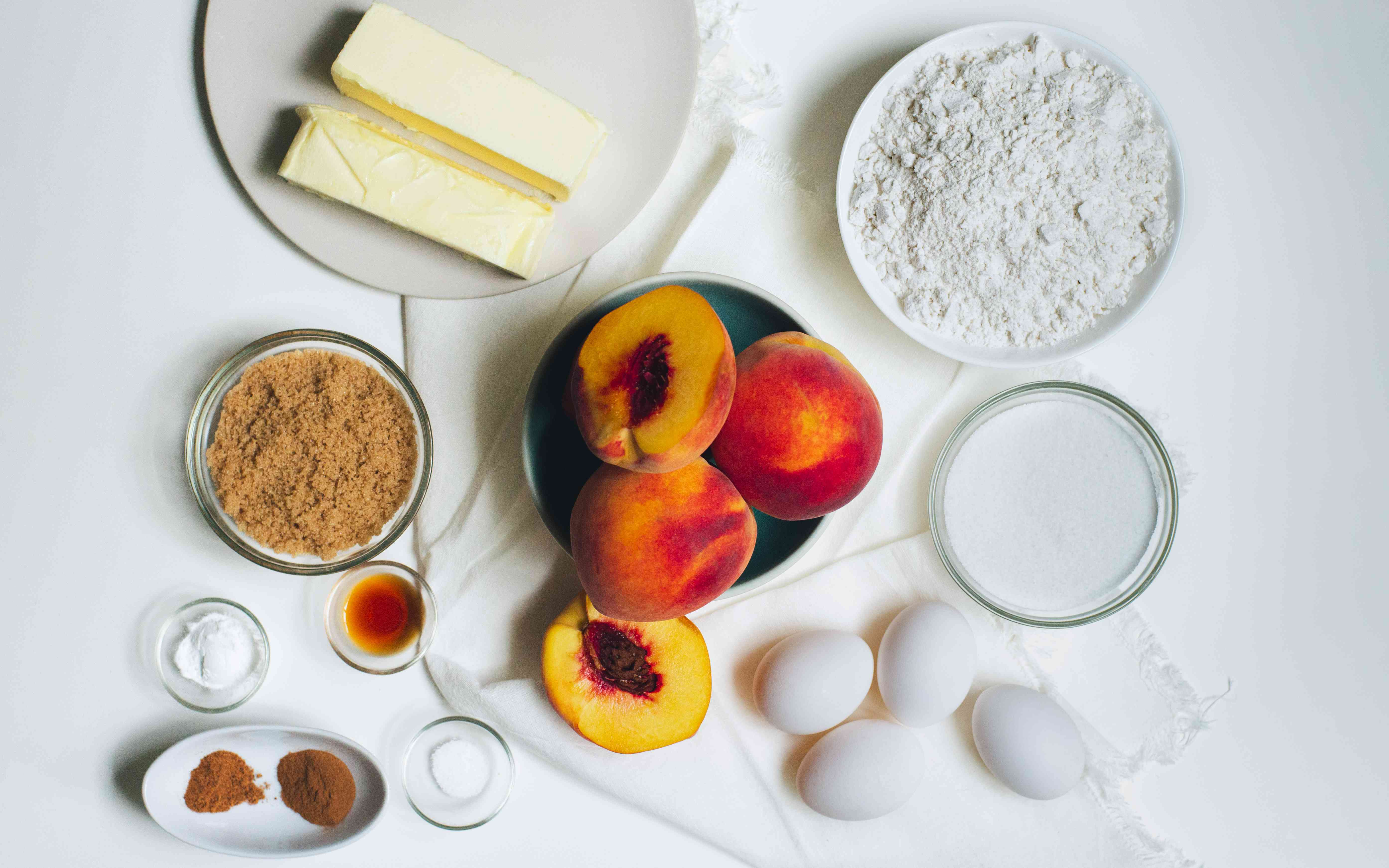 Ingredients for Peach Cobbler Pound Cake