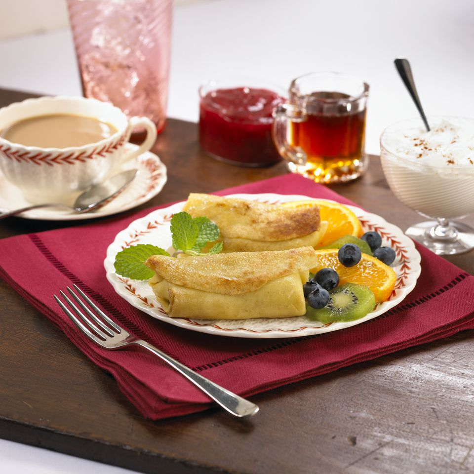 Cheese Blintzes with Fresh Fruit and Coffee