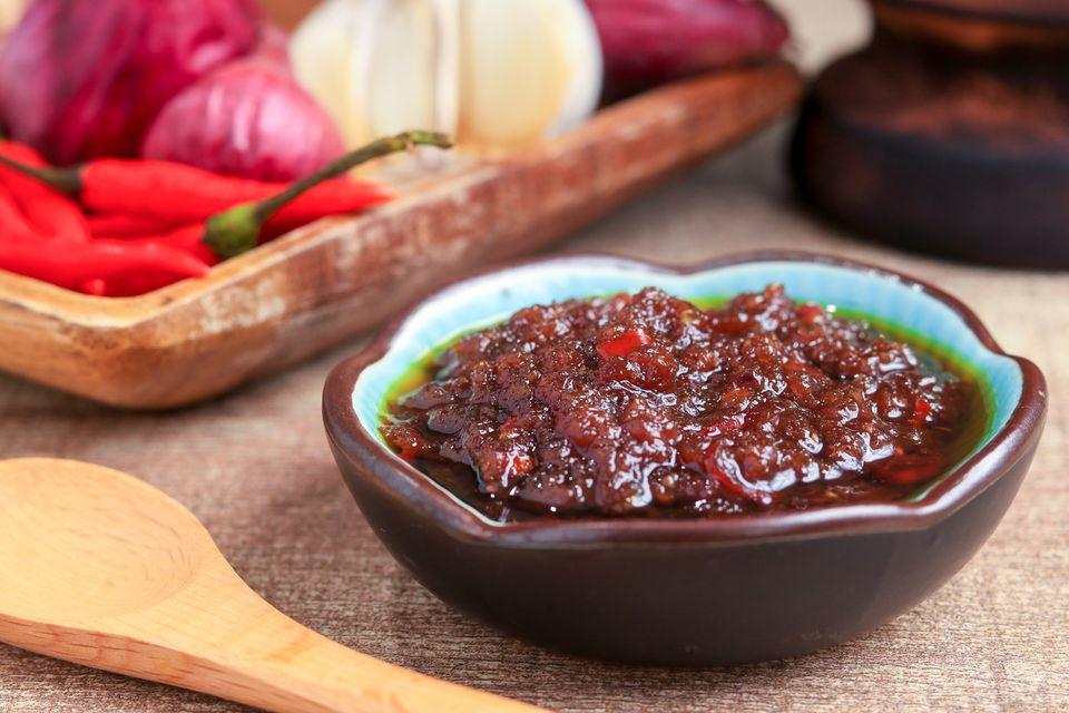 Malaysian sambal sauce in a bowl
