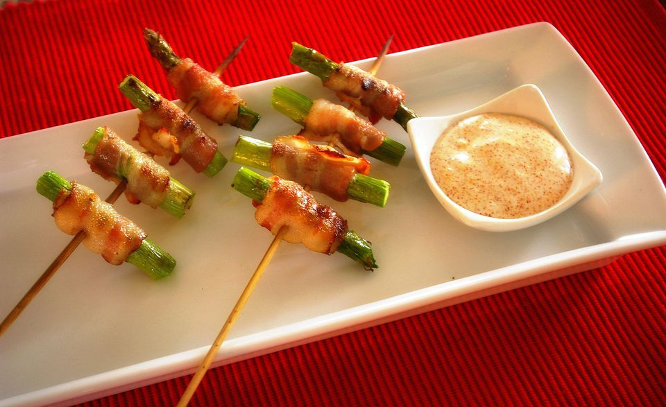 Skewered Bacon Wrapped Asparagus with Chipotle Blue Cheese Sauce