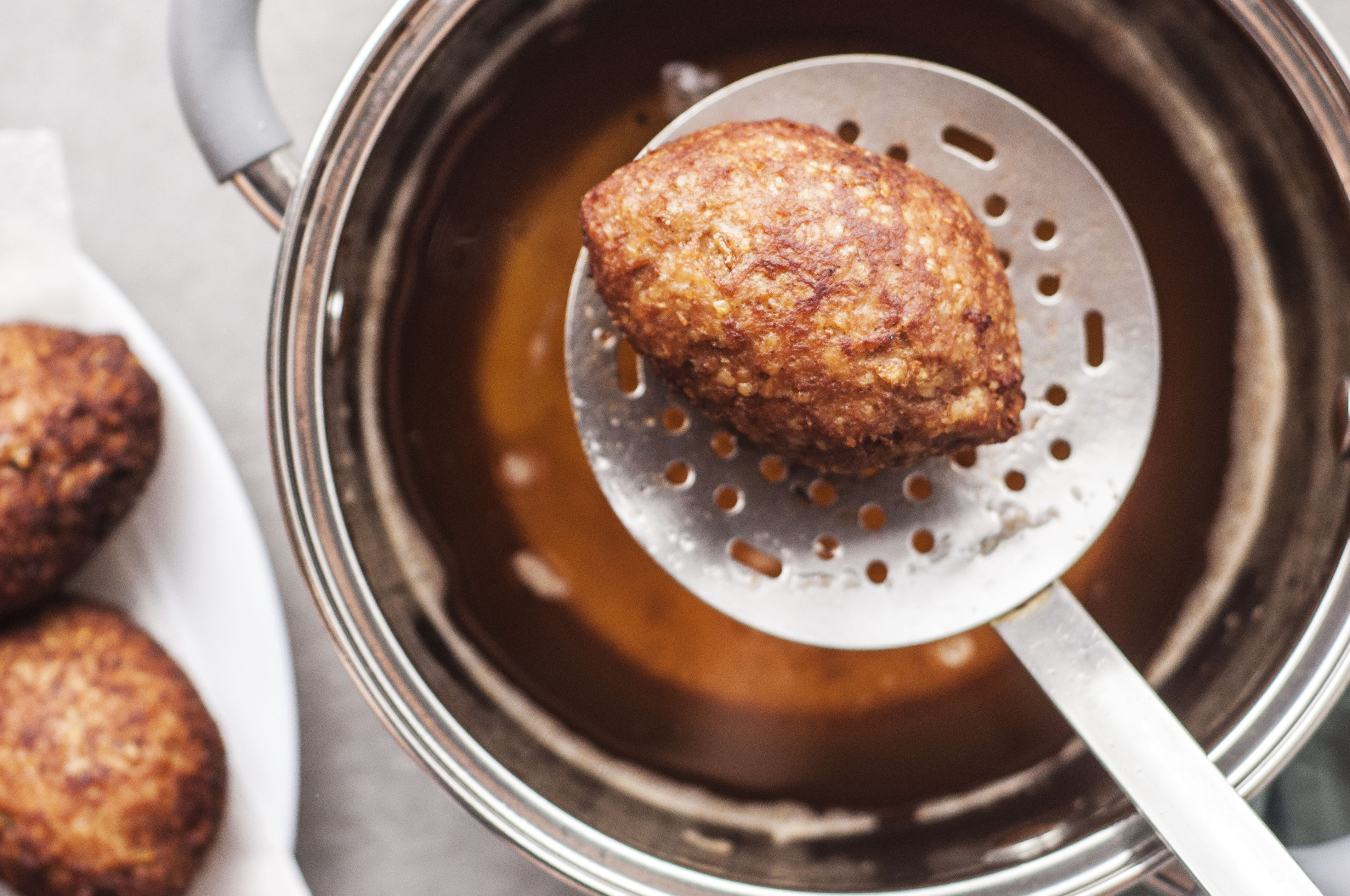 Frying Kibbeh