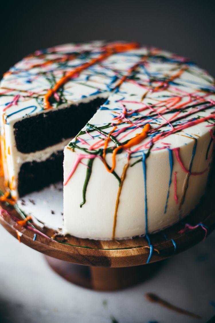 Chocolate chili splatter cake