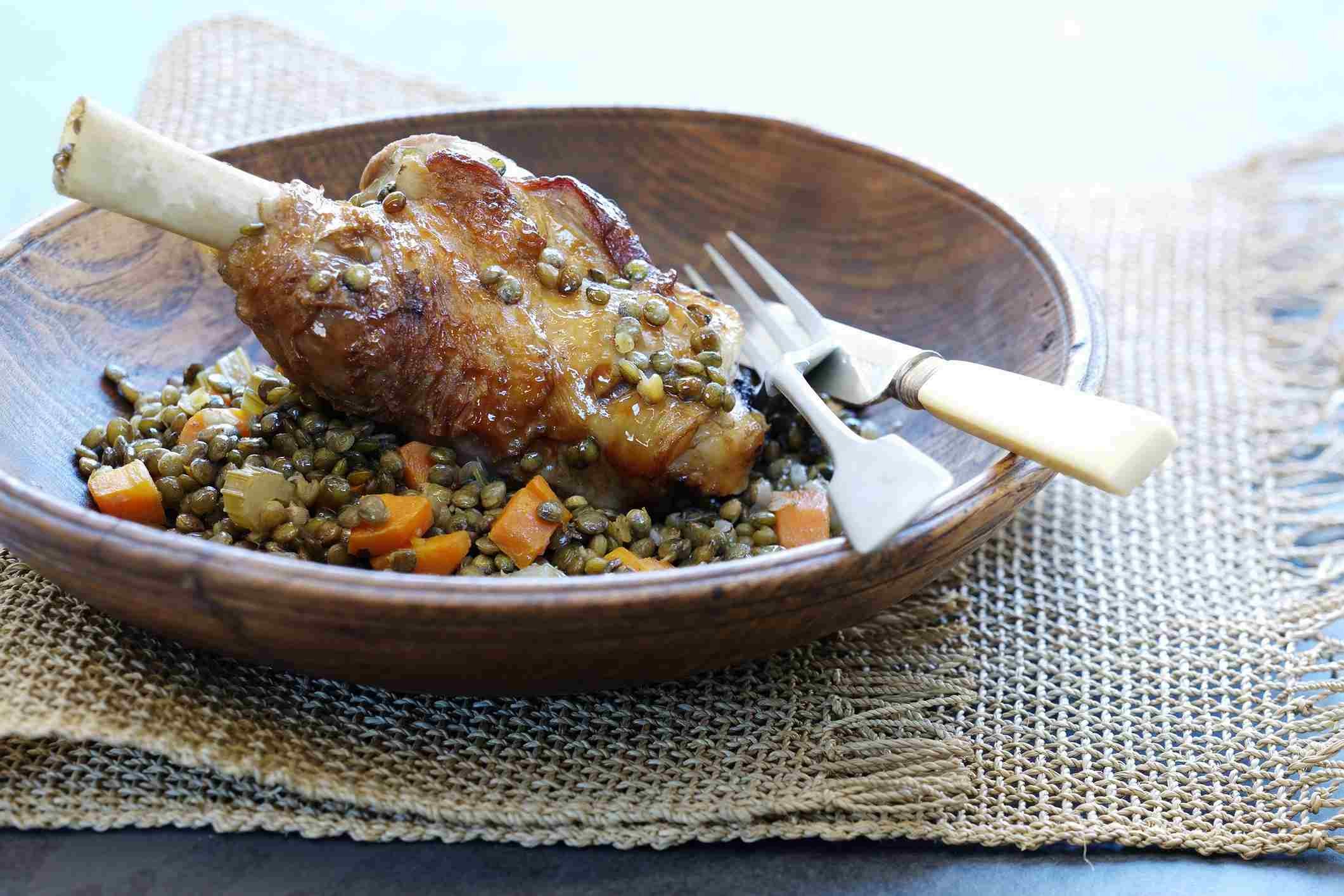 Lamb shank with lentils and carrots