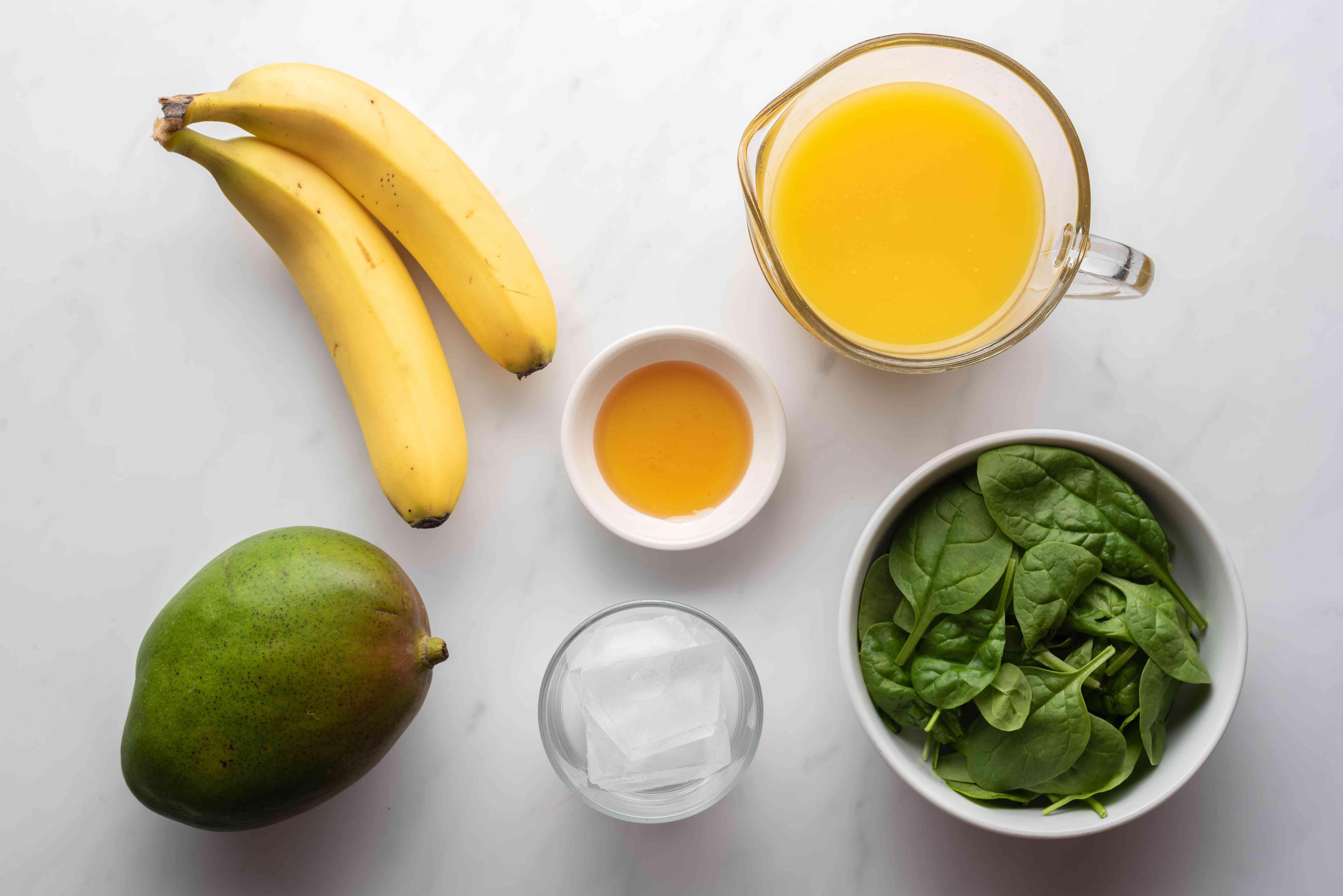 Mango Honey Green Smoothie Recipe ingredients