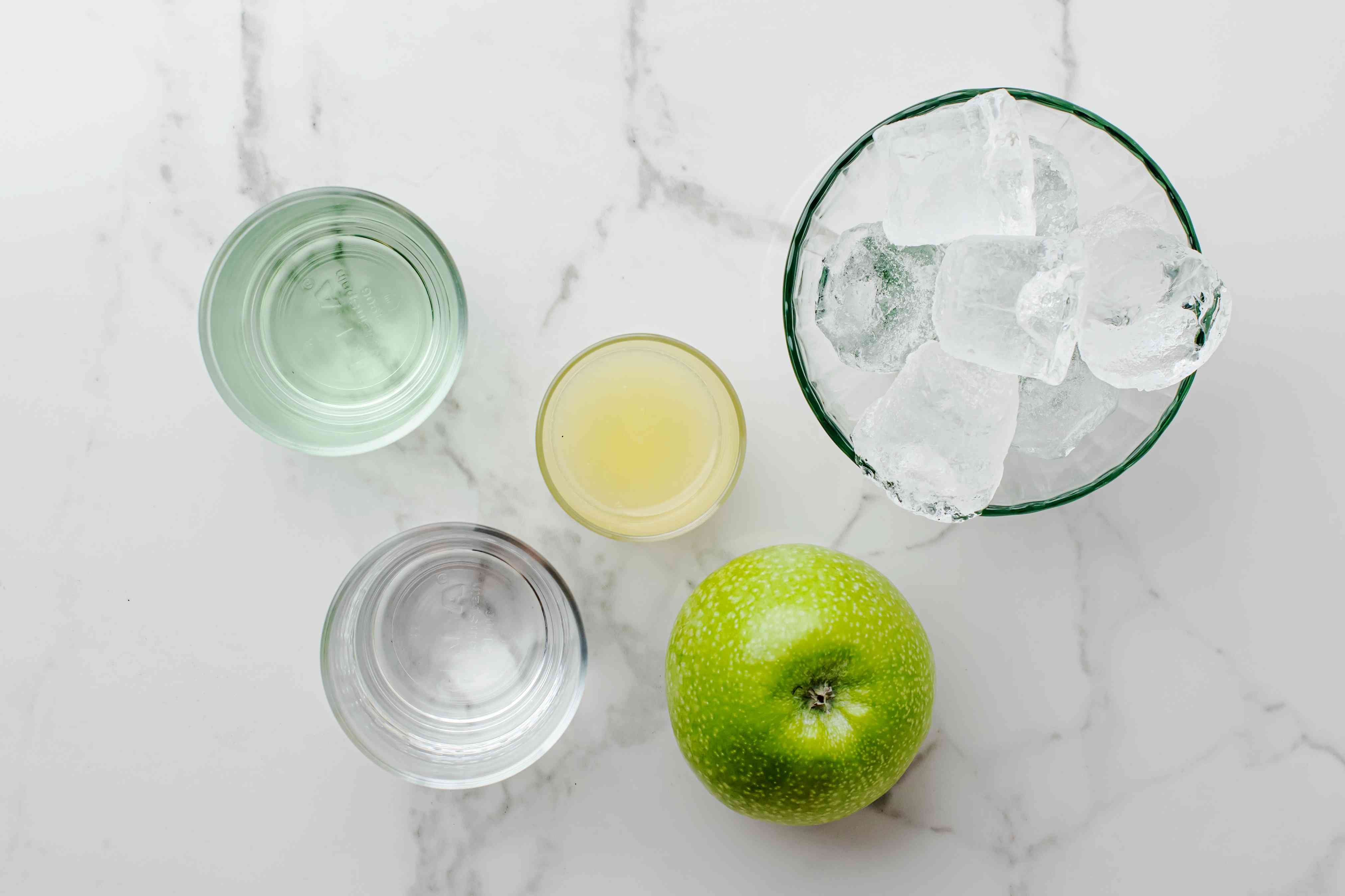 Ingredients for a green apple martini