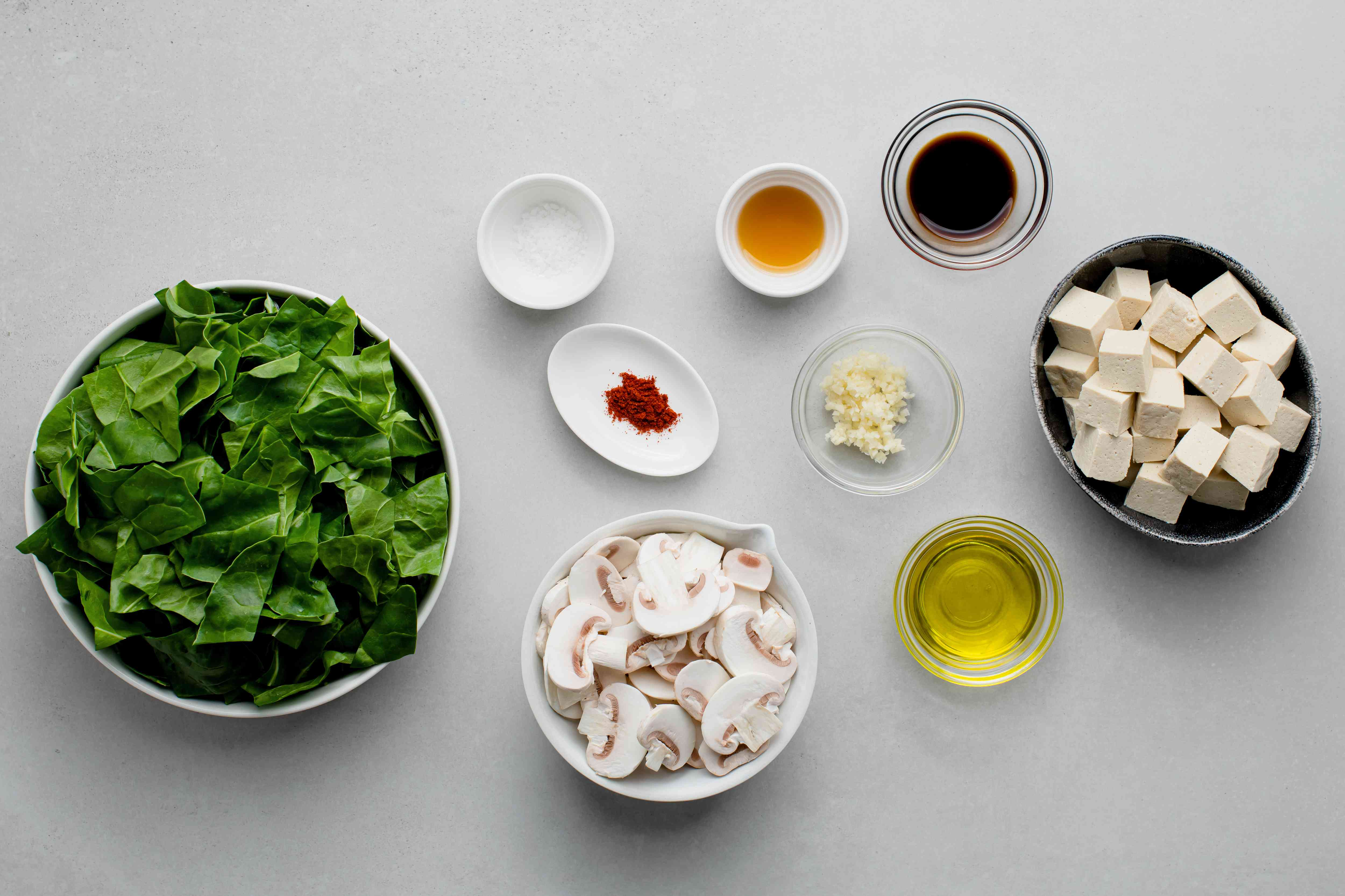 Swiss Chard and Tofu Stir-Fry ingredients