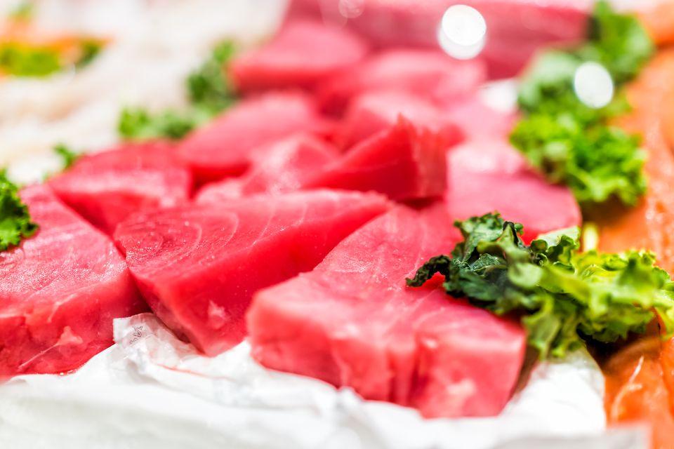 Wild tuna steaks over ice