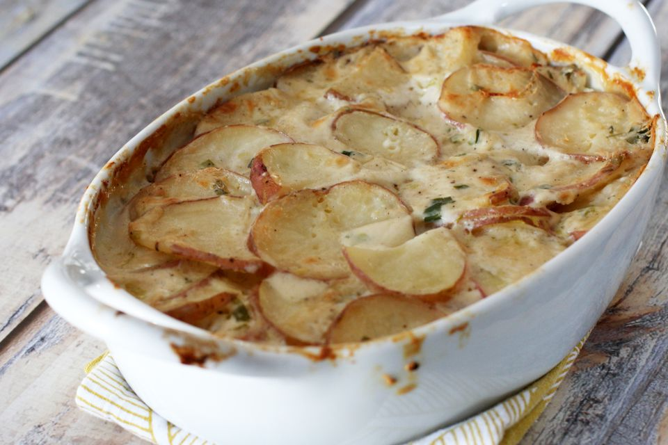 Savory scalloped potatoes with a white sauce.