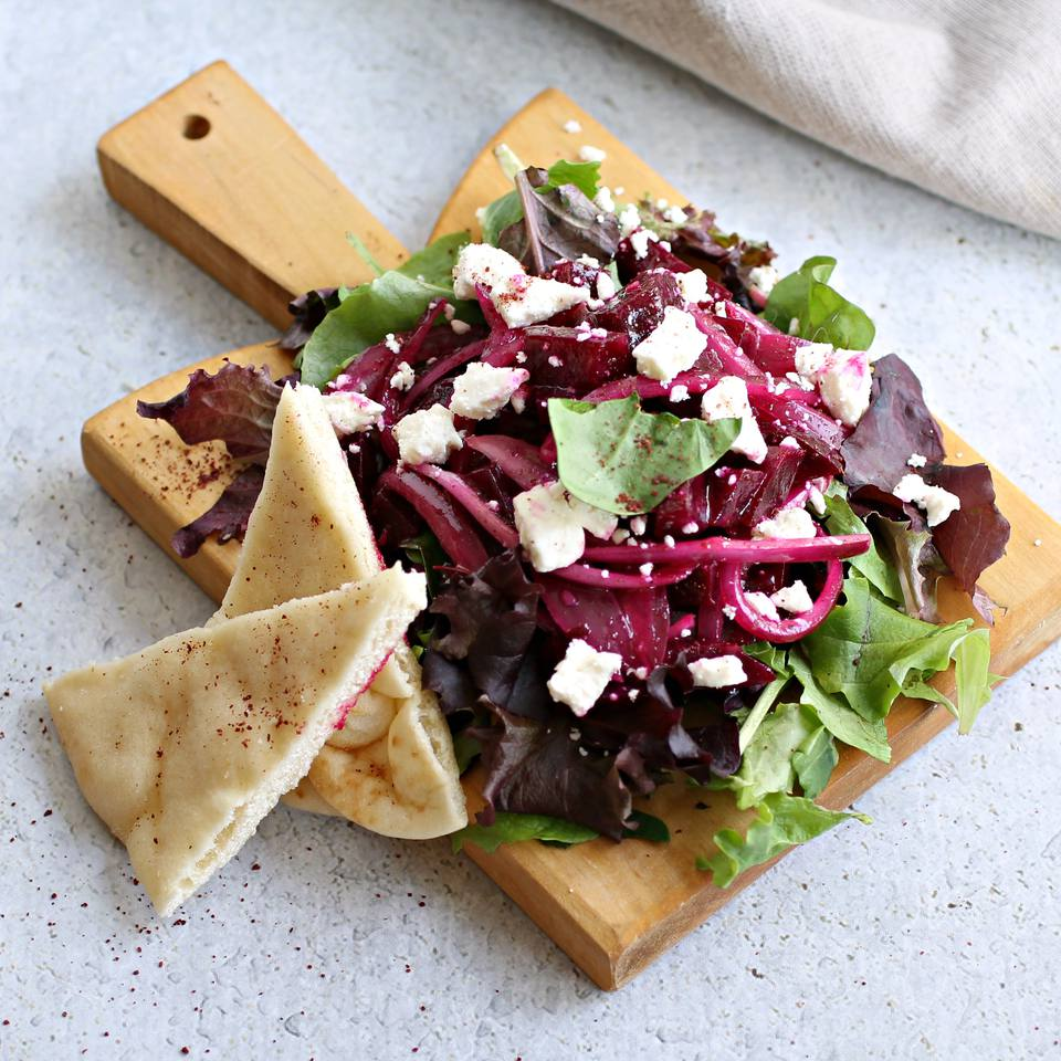 Roasted Beet and Goat Cheese Salad with Sumac Dressing