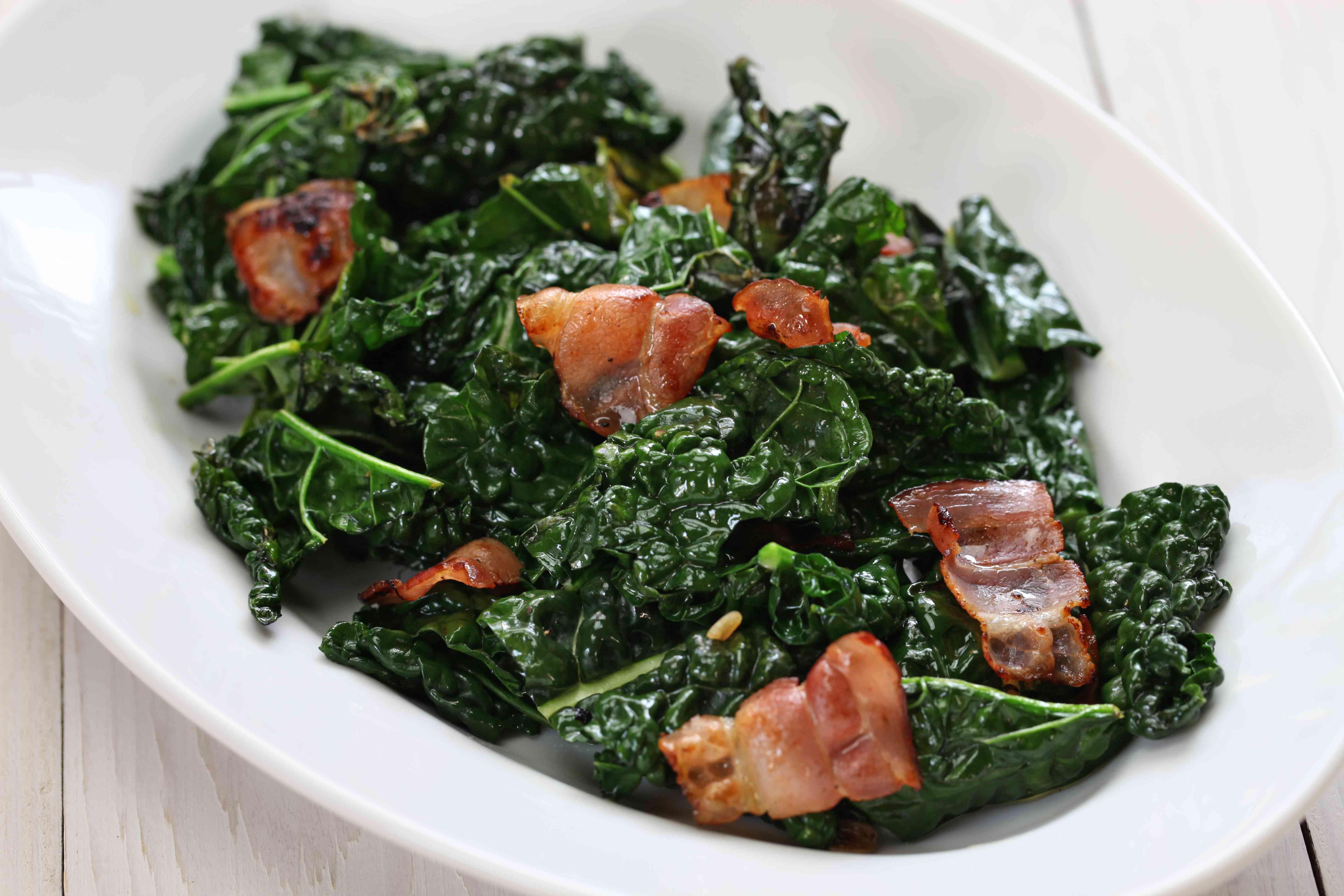 sauteed black kale and bacon