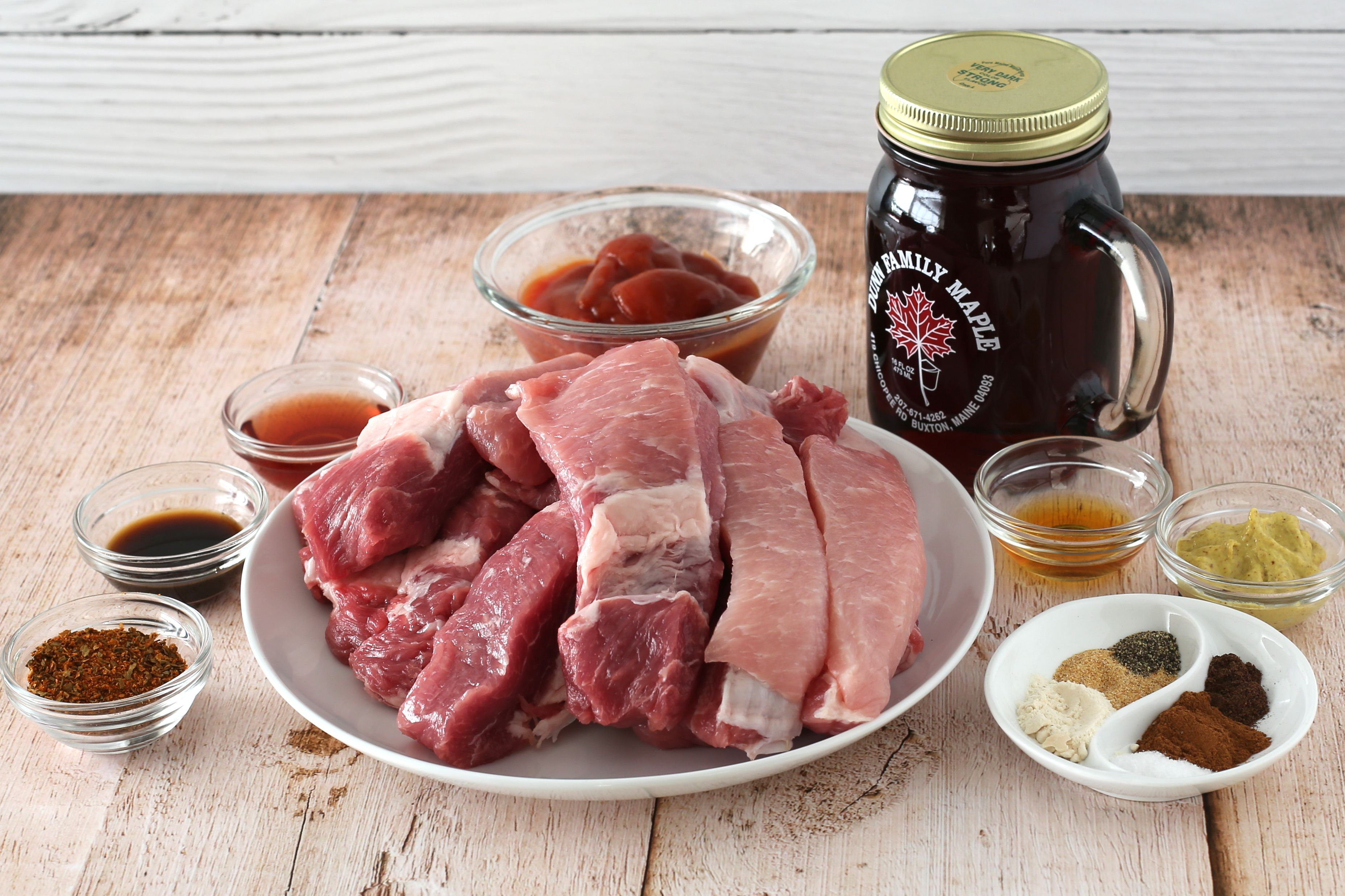 Ingredients for making baked country-style ribs
