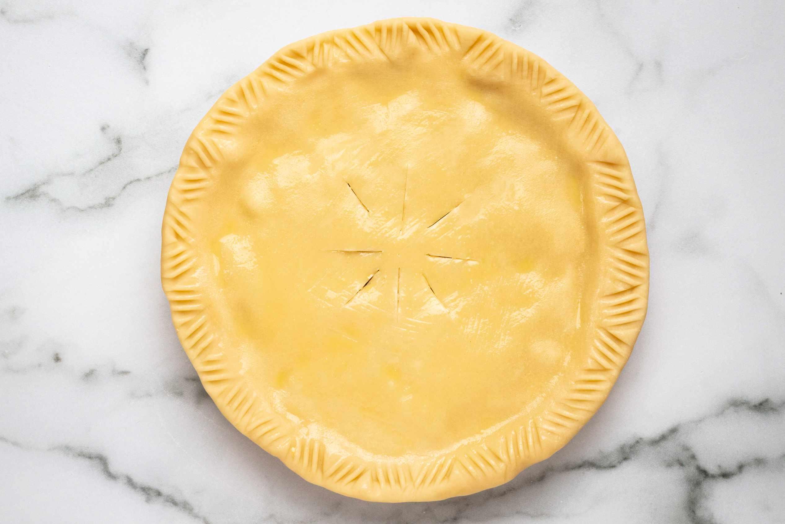 egg wash on homemade turkey pot pie