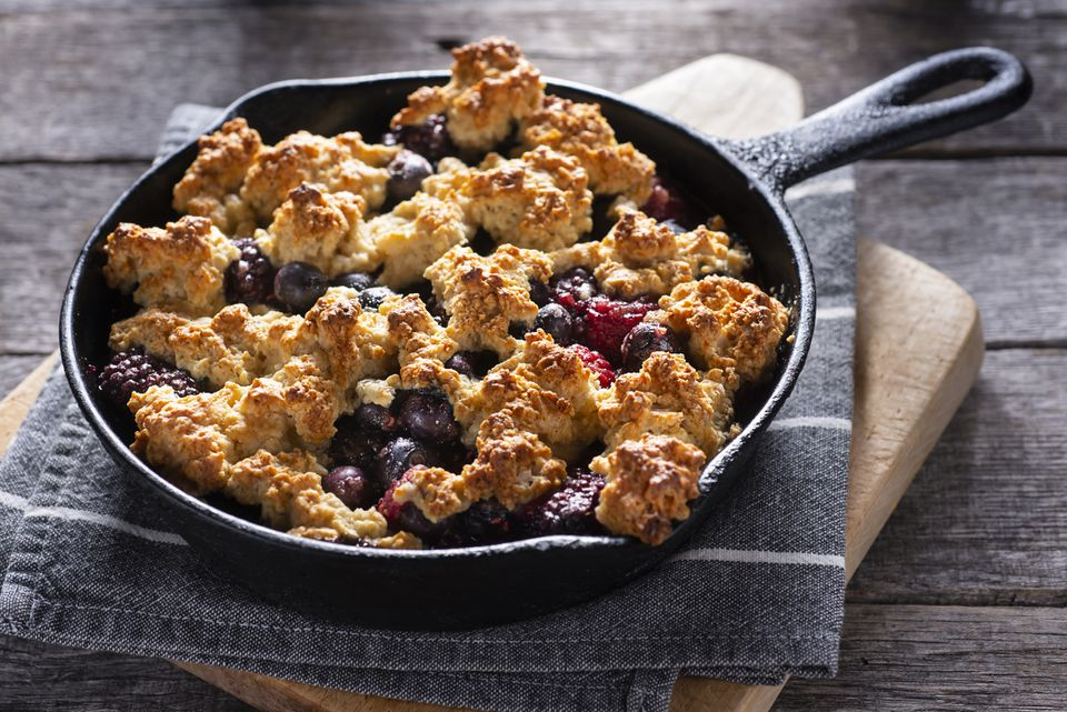 Berry cobbler in a cast iron skillet