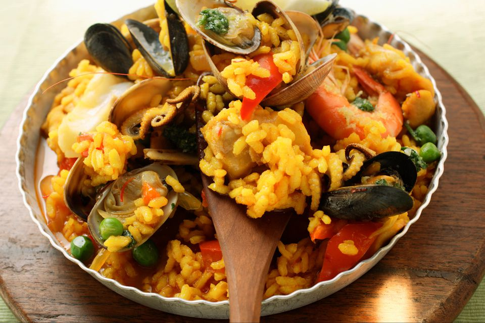 Paella made with seafood and shellfish