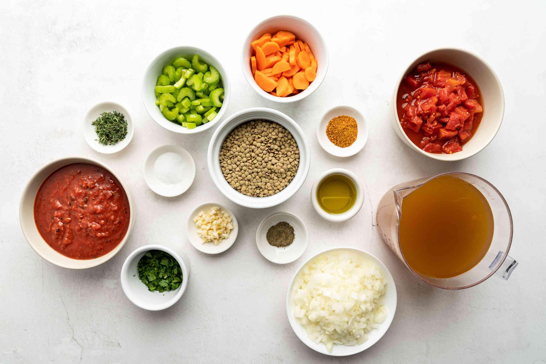 Instant Pot Lentil Soup ingredients