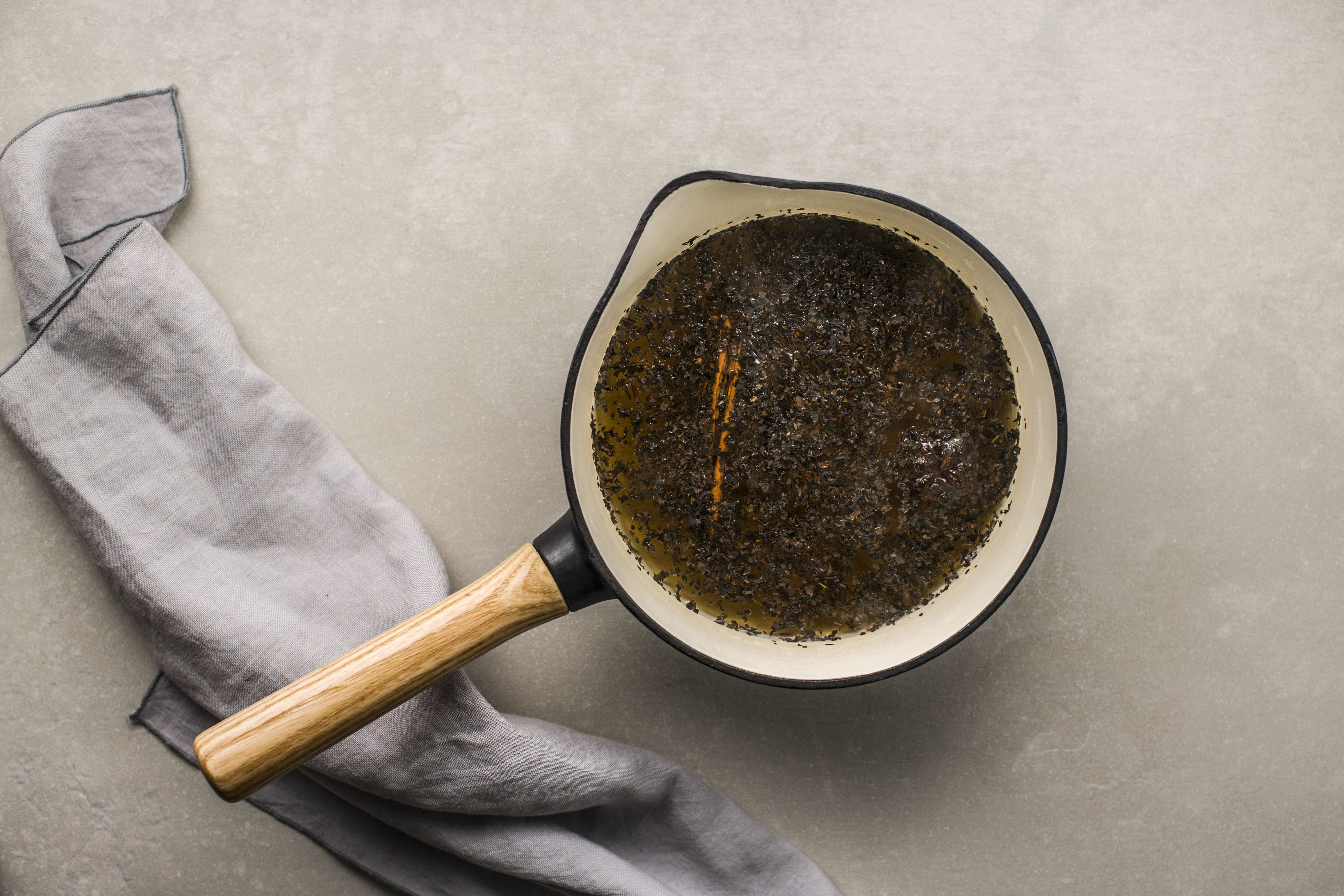Tea steeping in a pot for black tea hot toddy