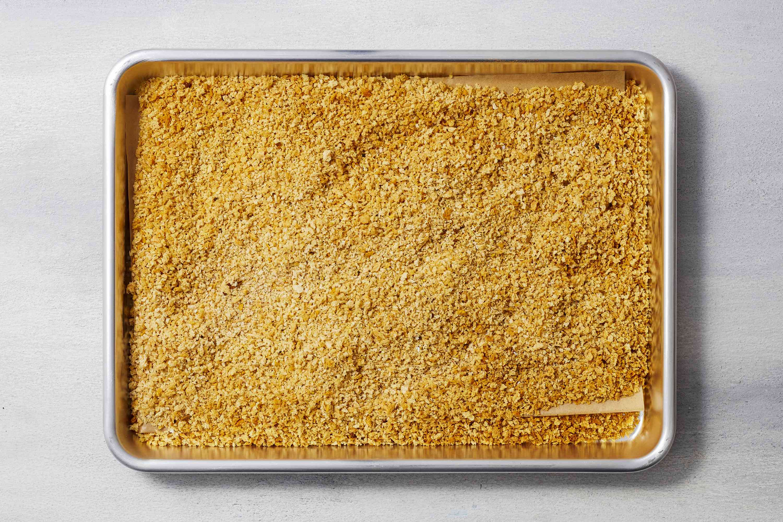 baked breadcrumbs on a baking sheet