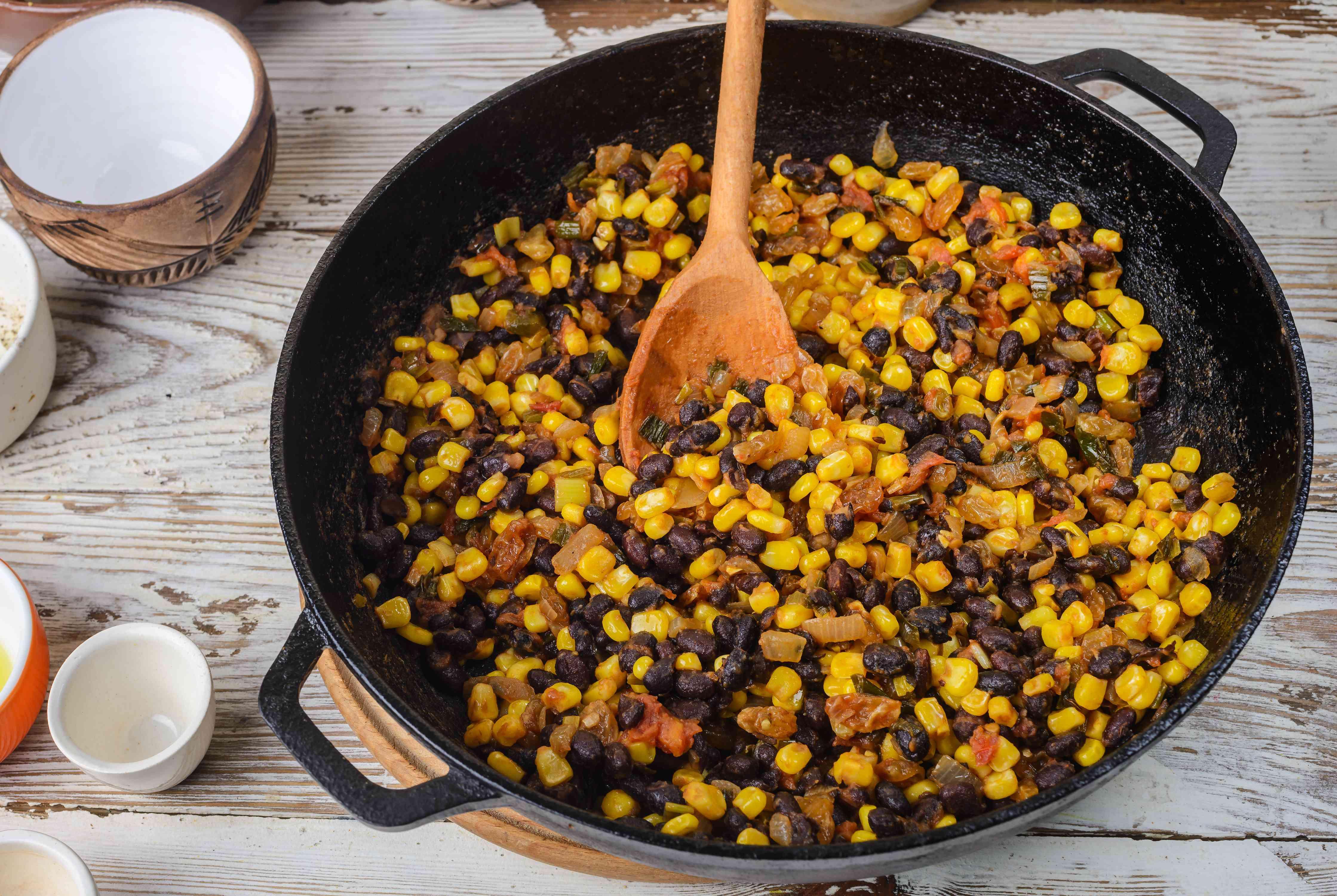 Corn added to pan
