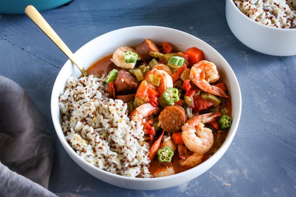 Okra and rice dish