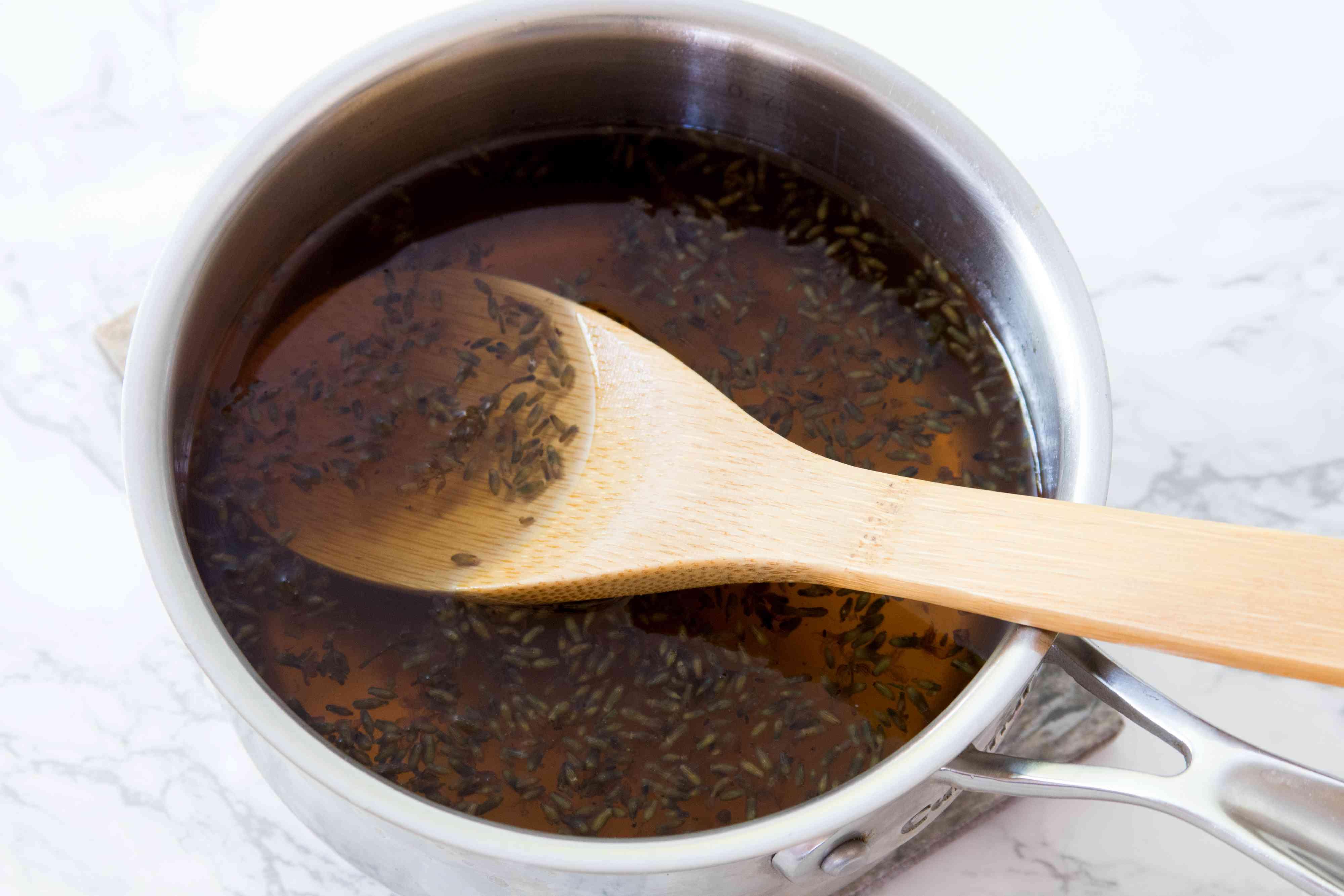 Making Lavender Honey Syrup