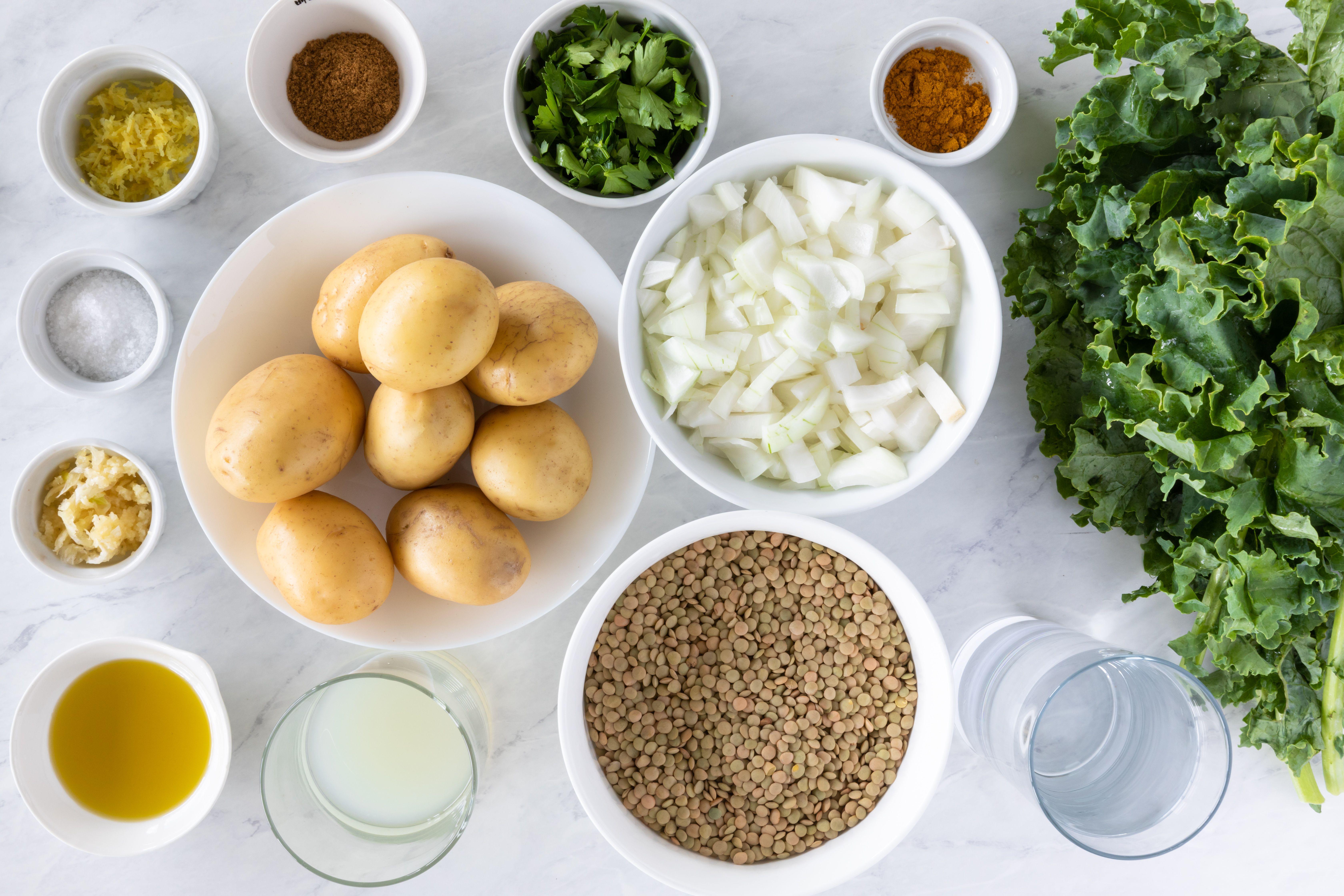 Ingredients for lemon, kale, and lentil soup
