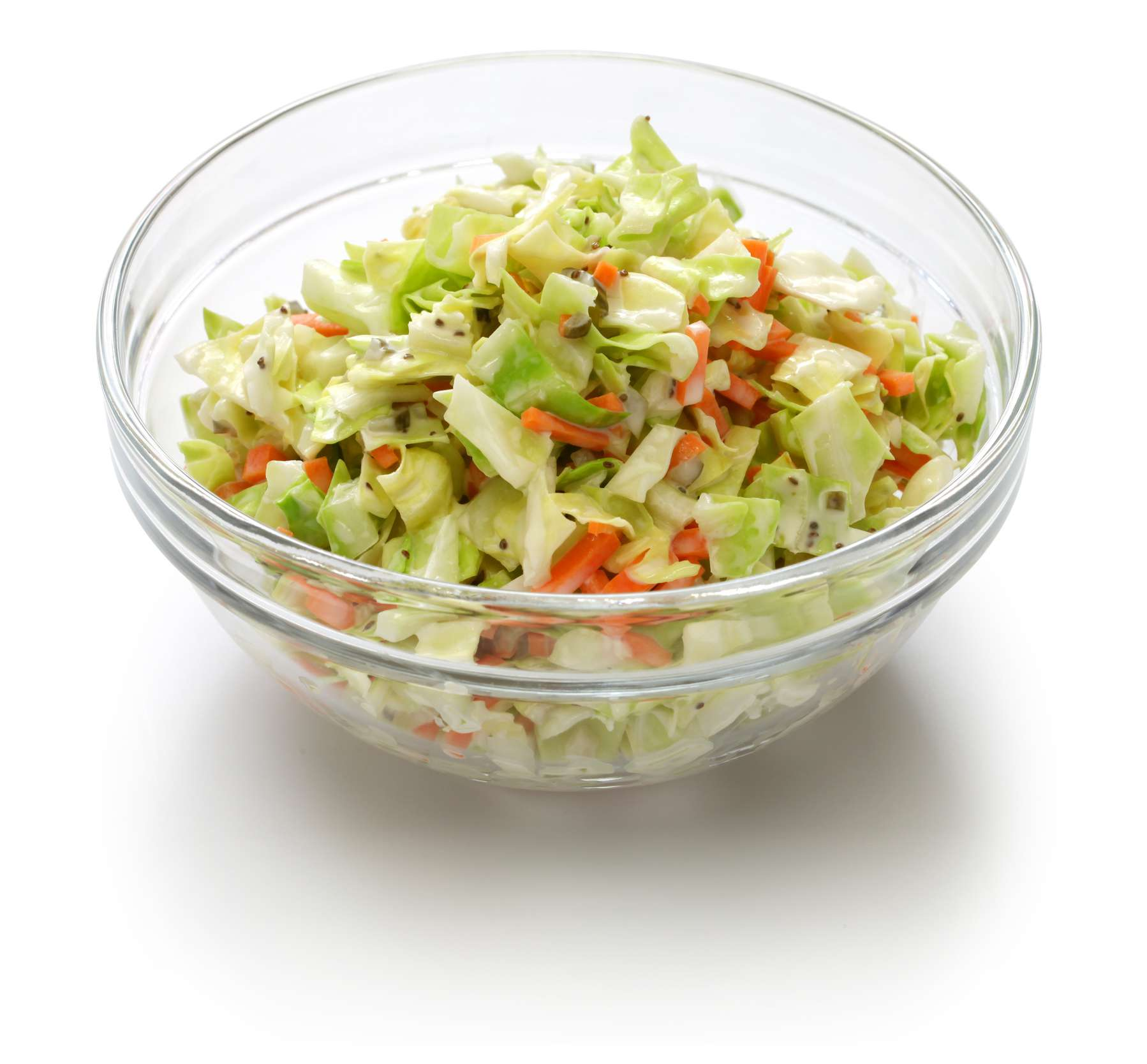 Coleslaw in a glass bowl