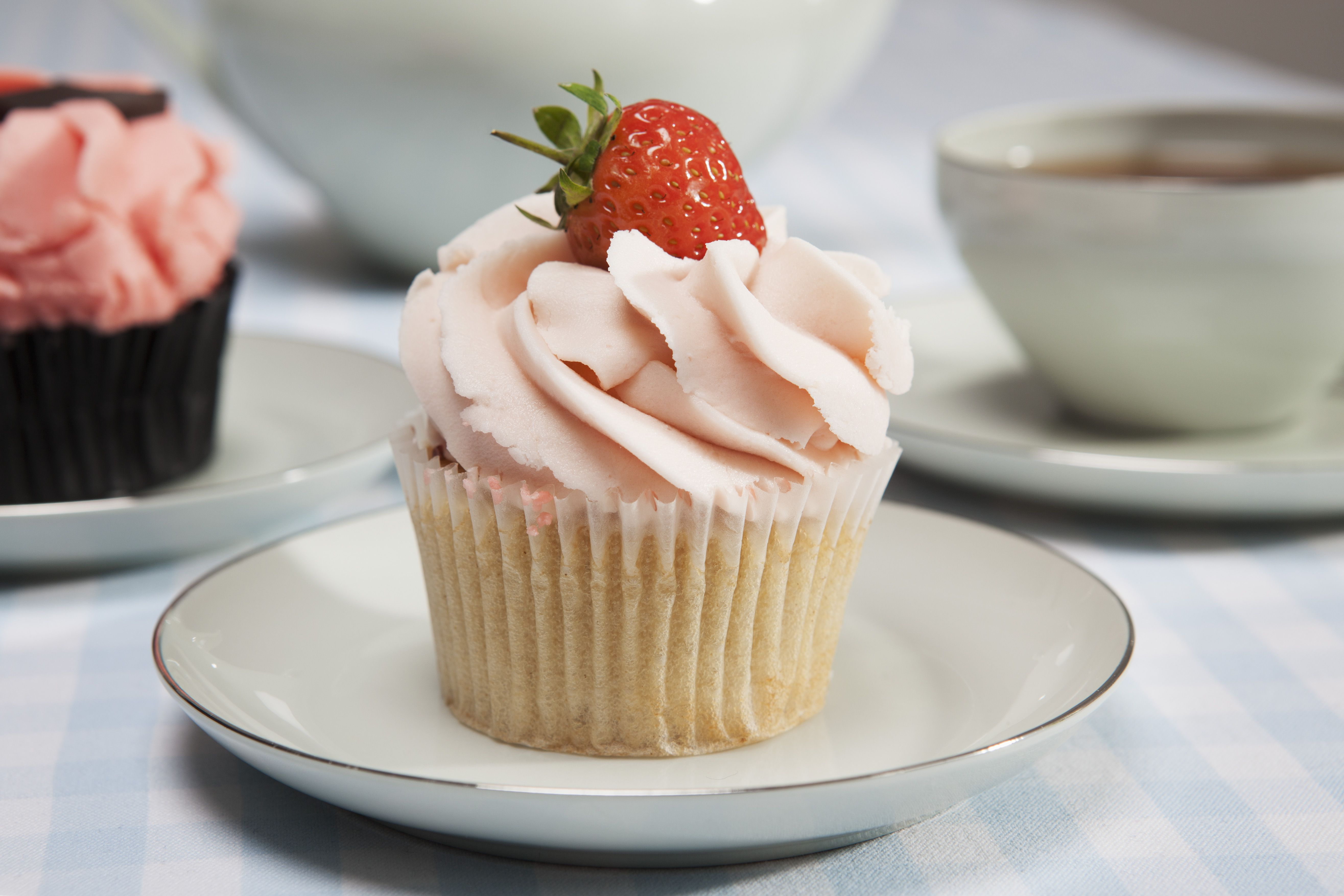 Close-up of cupcake with strawberry