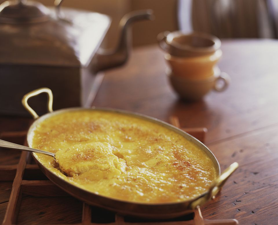 Corn pudding in a pan