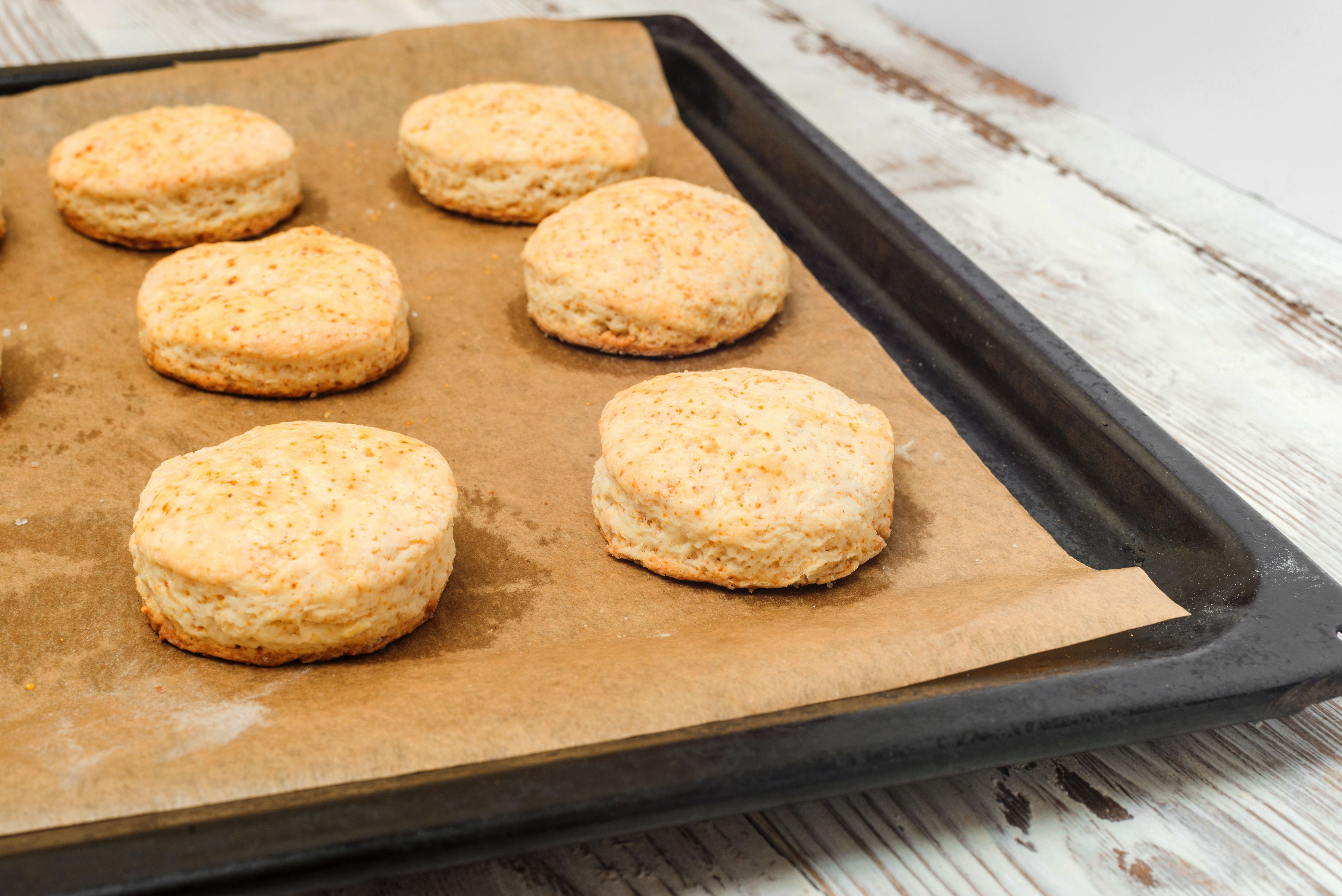 Baked biscuits on a baking sheet