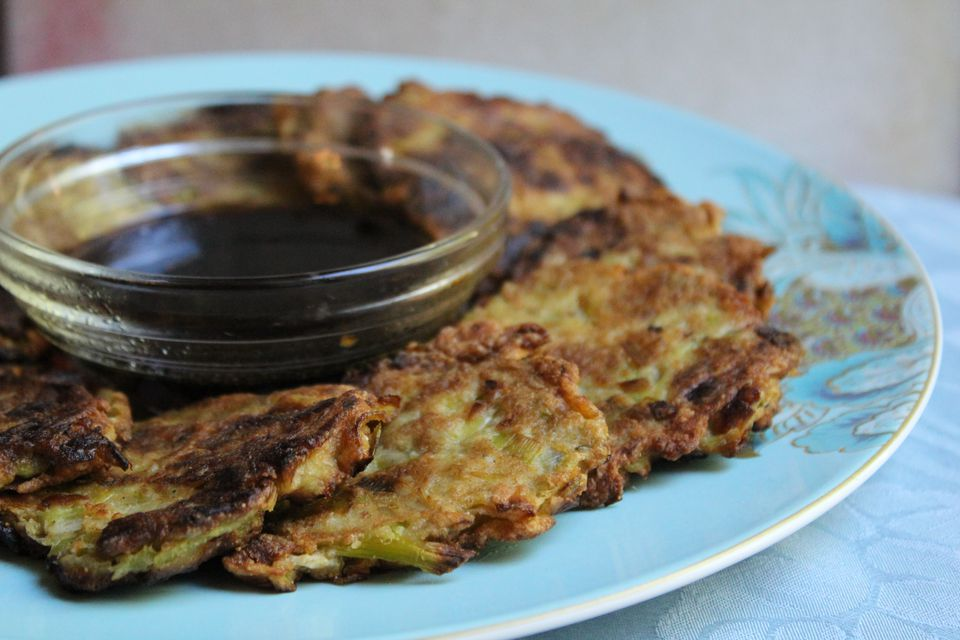 Leek Latkes with Tamari Dipping Sauce