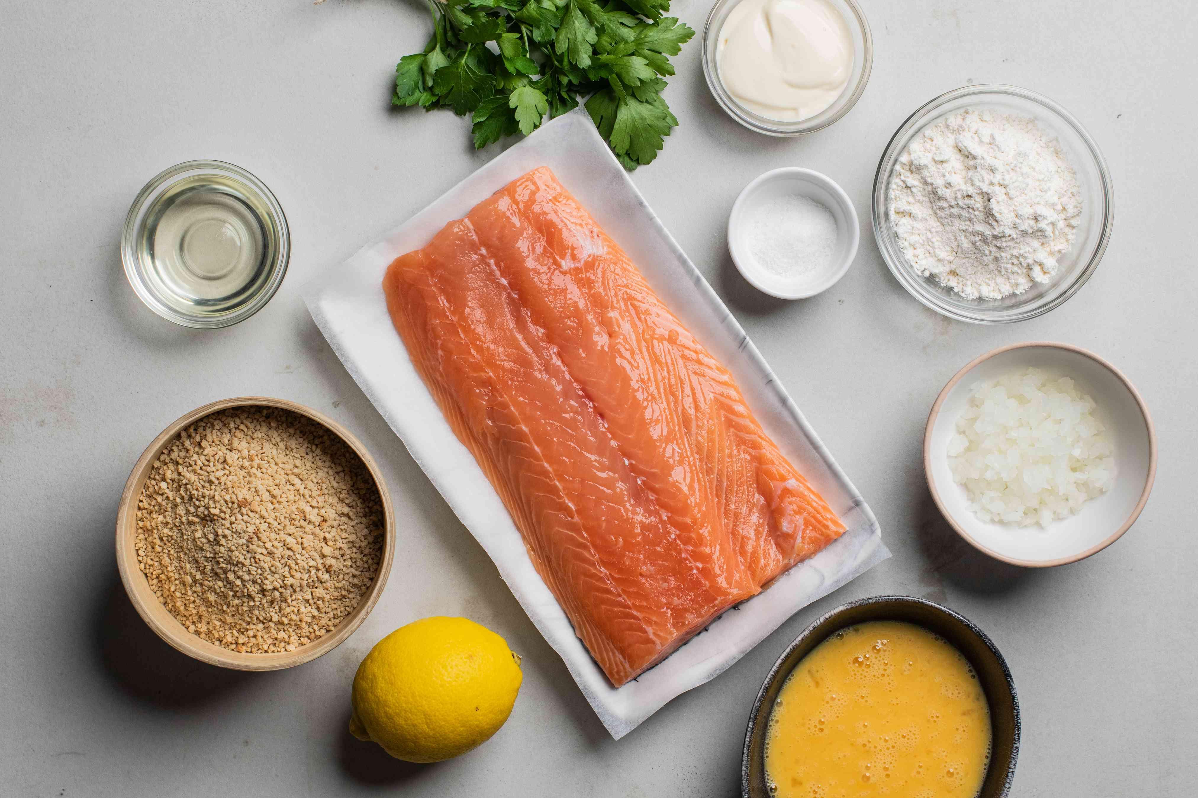 Ingredients for salmon patties