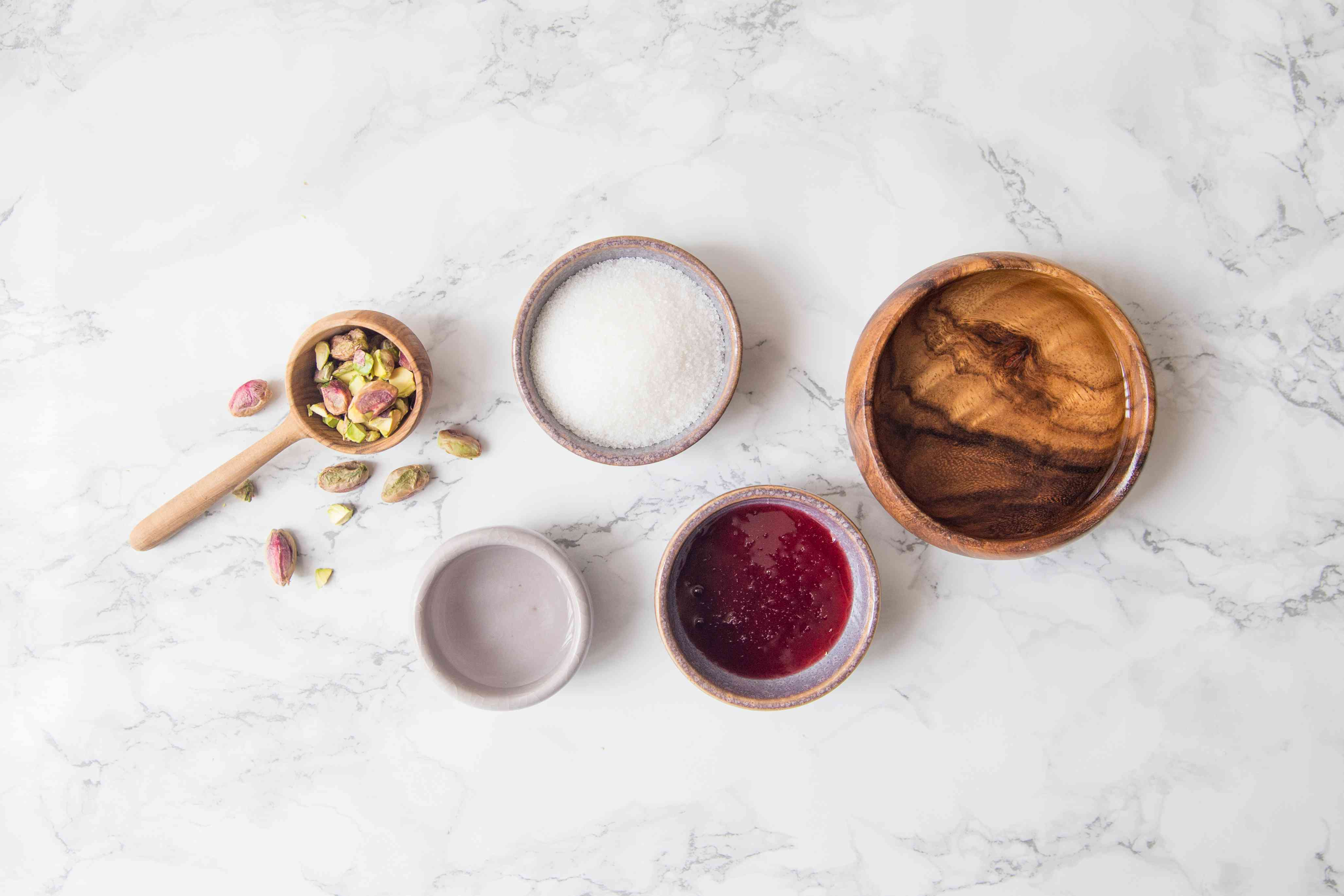 Ingredients for rosewater syrup