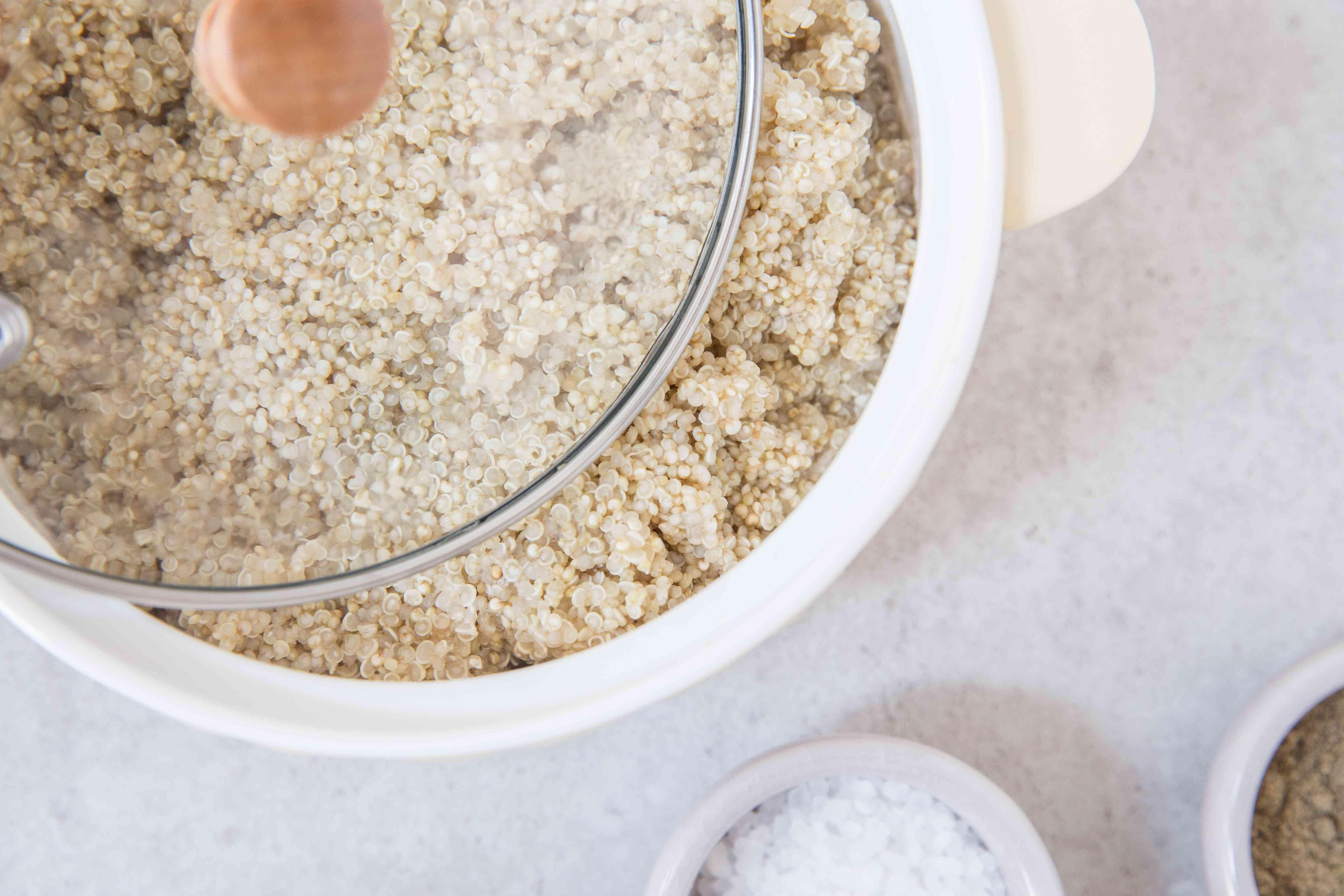 Simmer quinoa in vegetable broth
