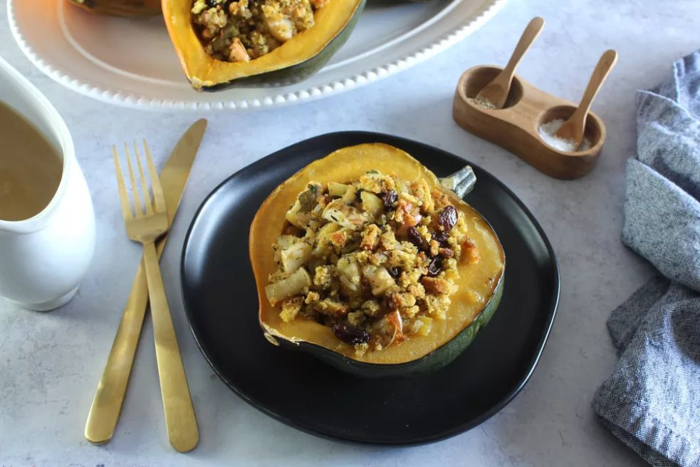 Vegetarian Stuffed Acorn Squash With Cornbread Stuffing