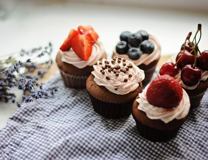 Cupcakes sitting on a counter