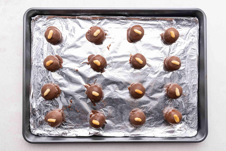 Cream Cheese Peanut Butter Balls on a baking sheet