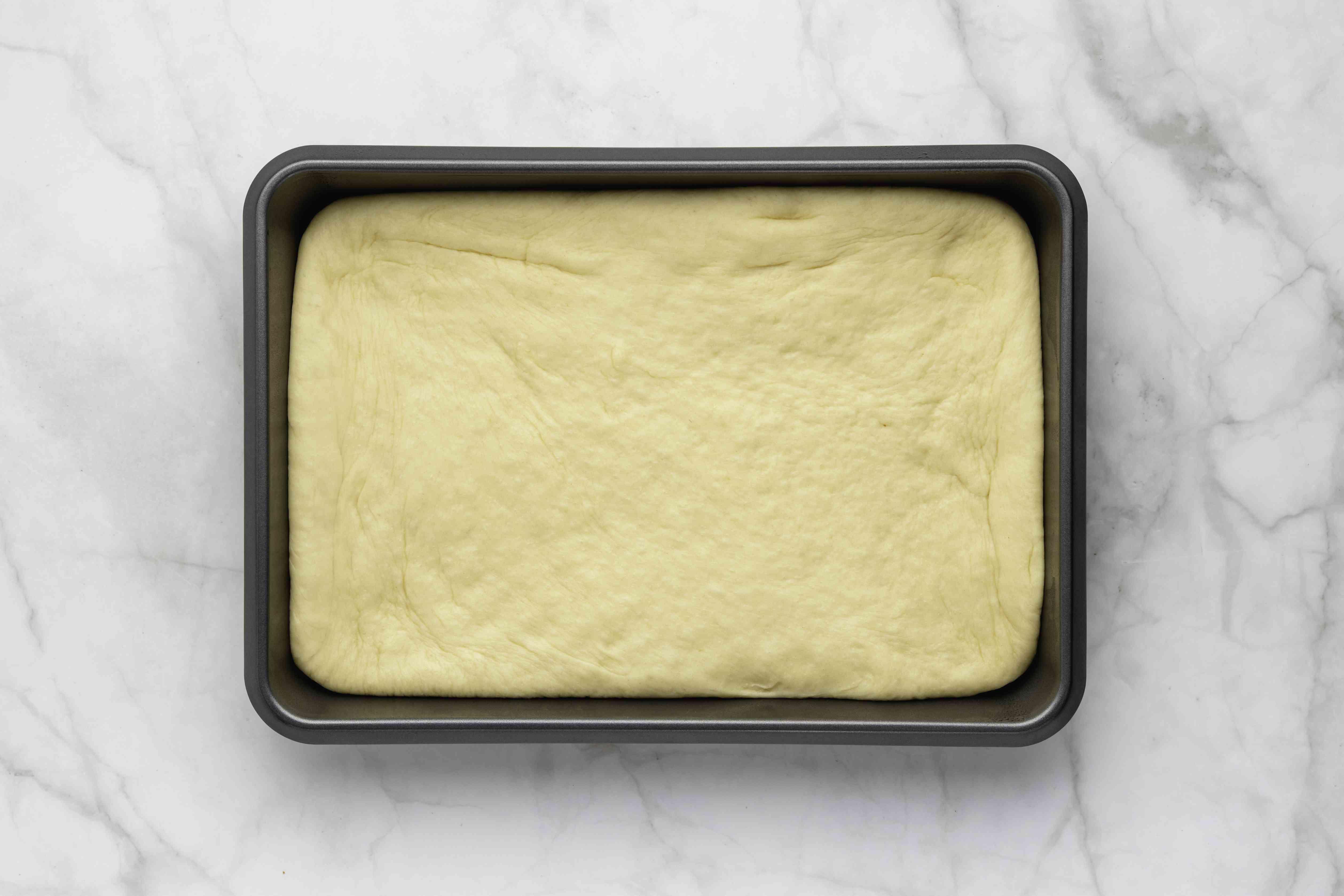 cake dough in a baking pan