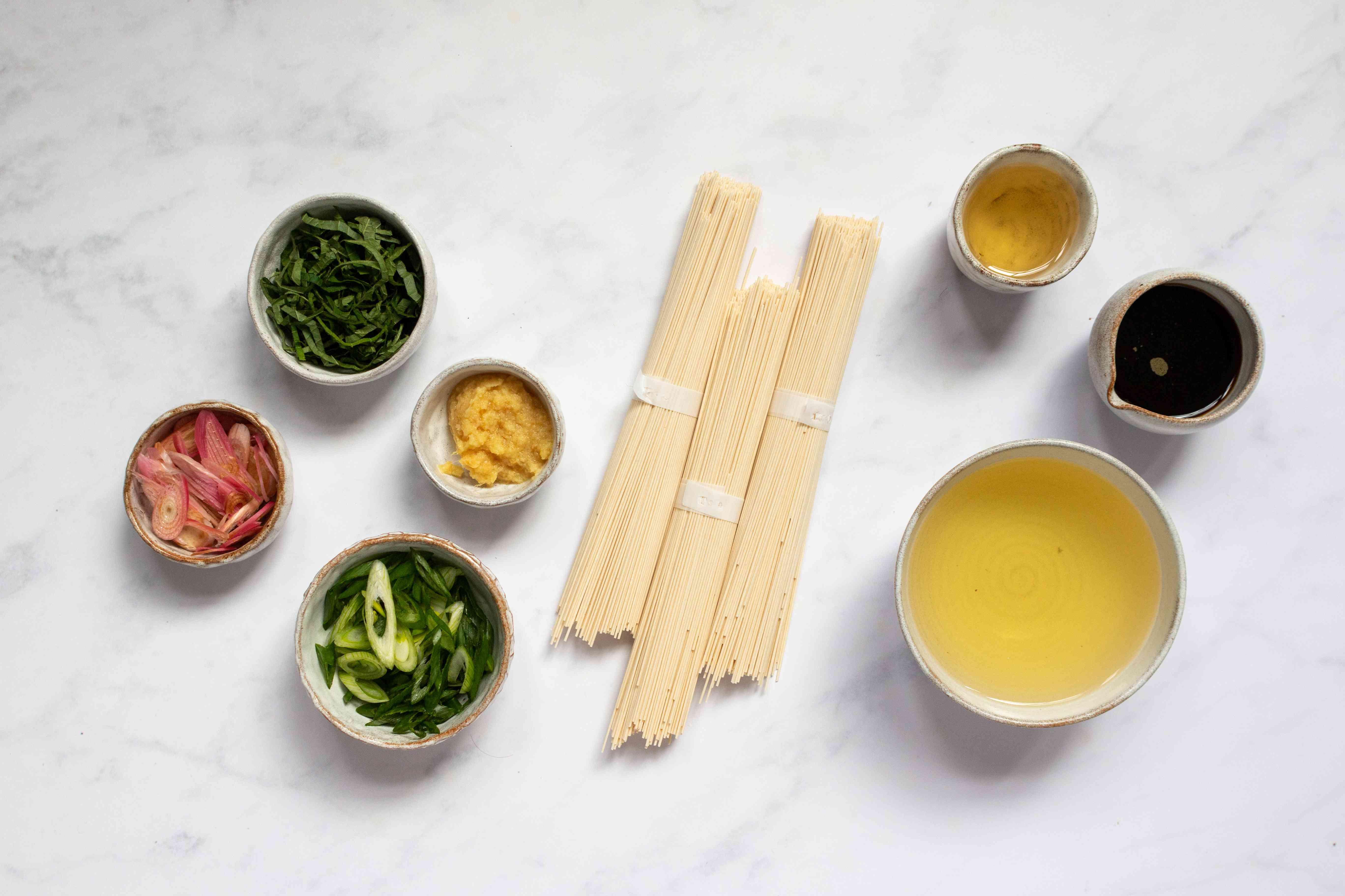 Japanese Cold Somen Noodles ingredients