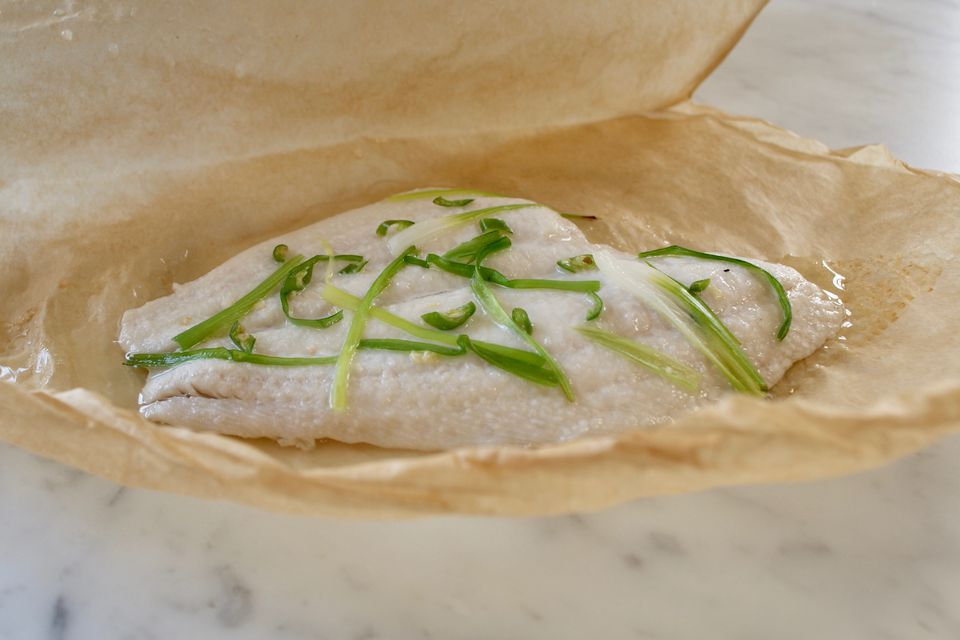 Cooked petrale sole in parchment paper