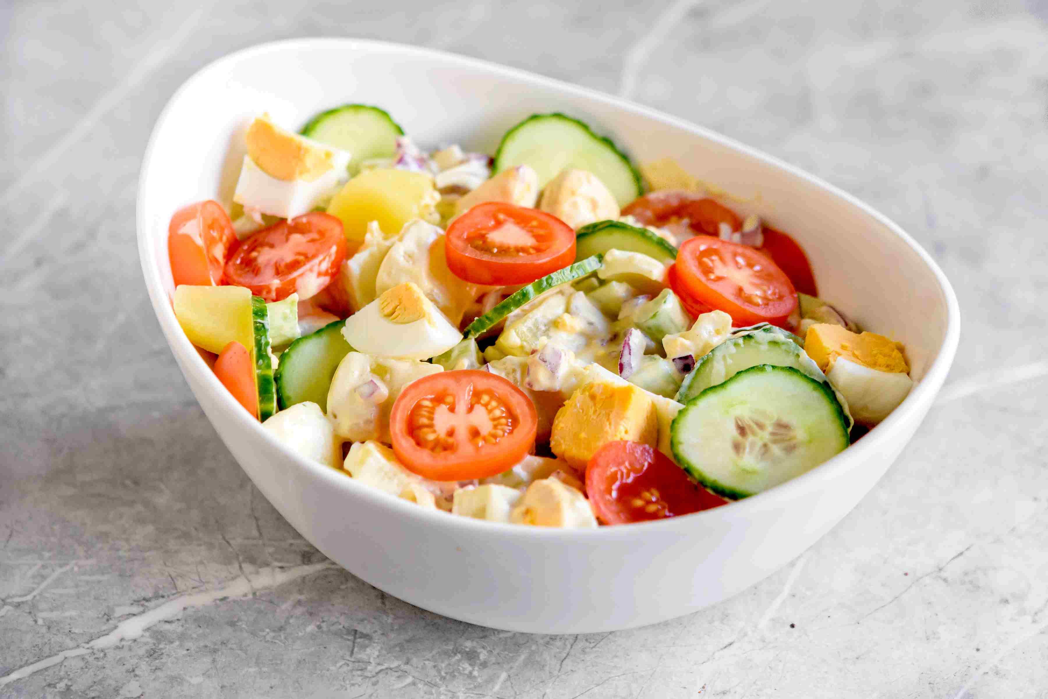 Potato salad with mayo and mustard