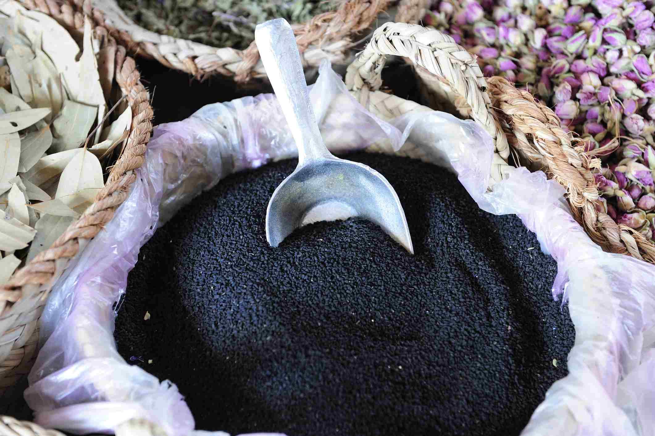 Nigella seeds in a large basket