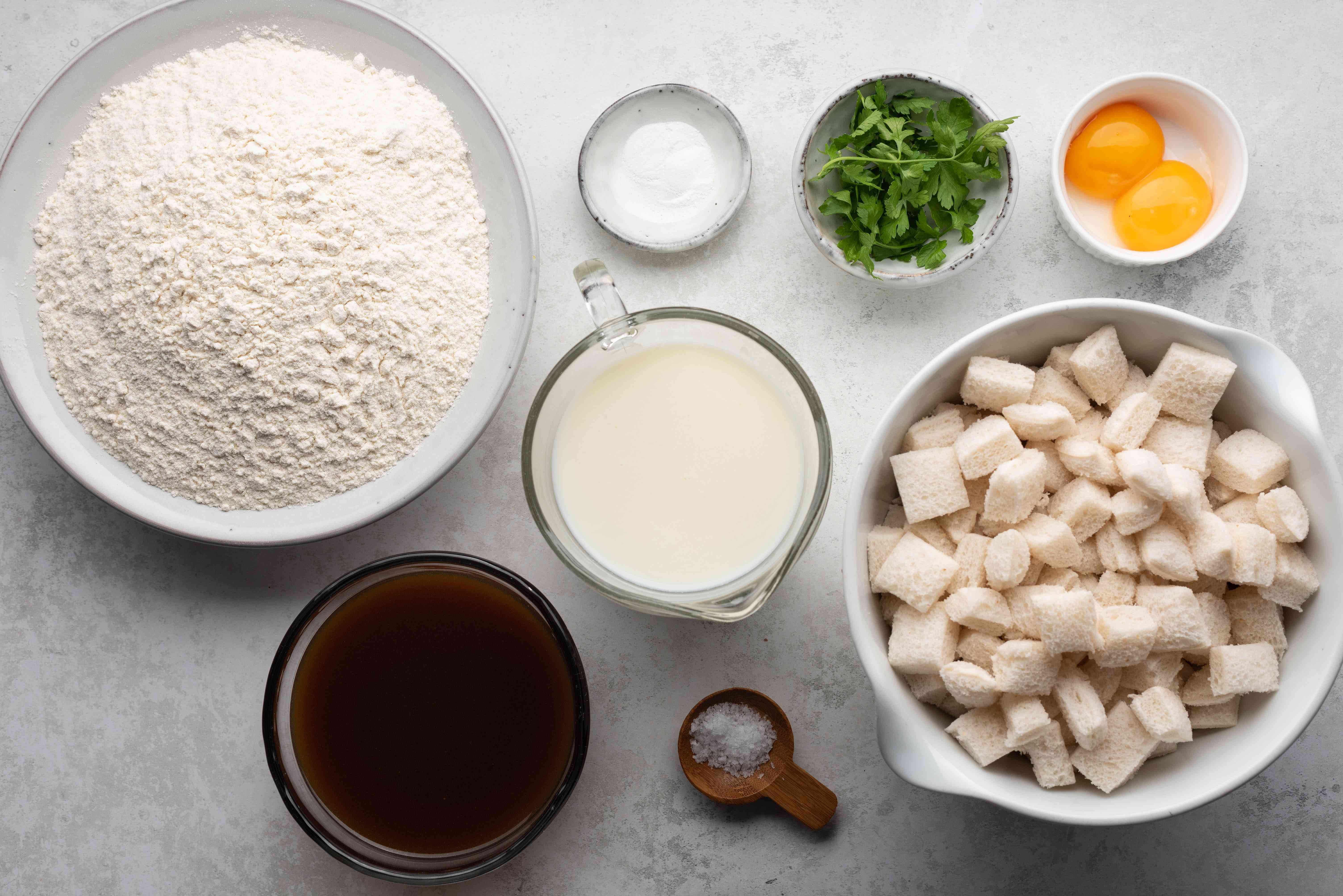 Ingredients for Czech bread dumplings recipe