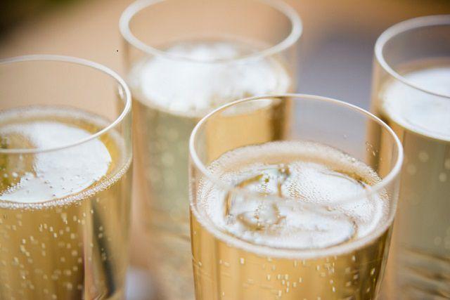 sparkling wine in glasses
