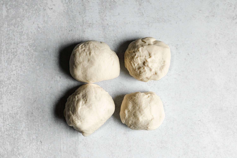dough pieces on a counter