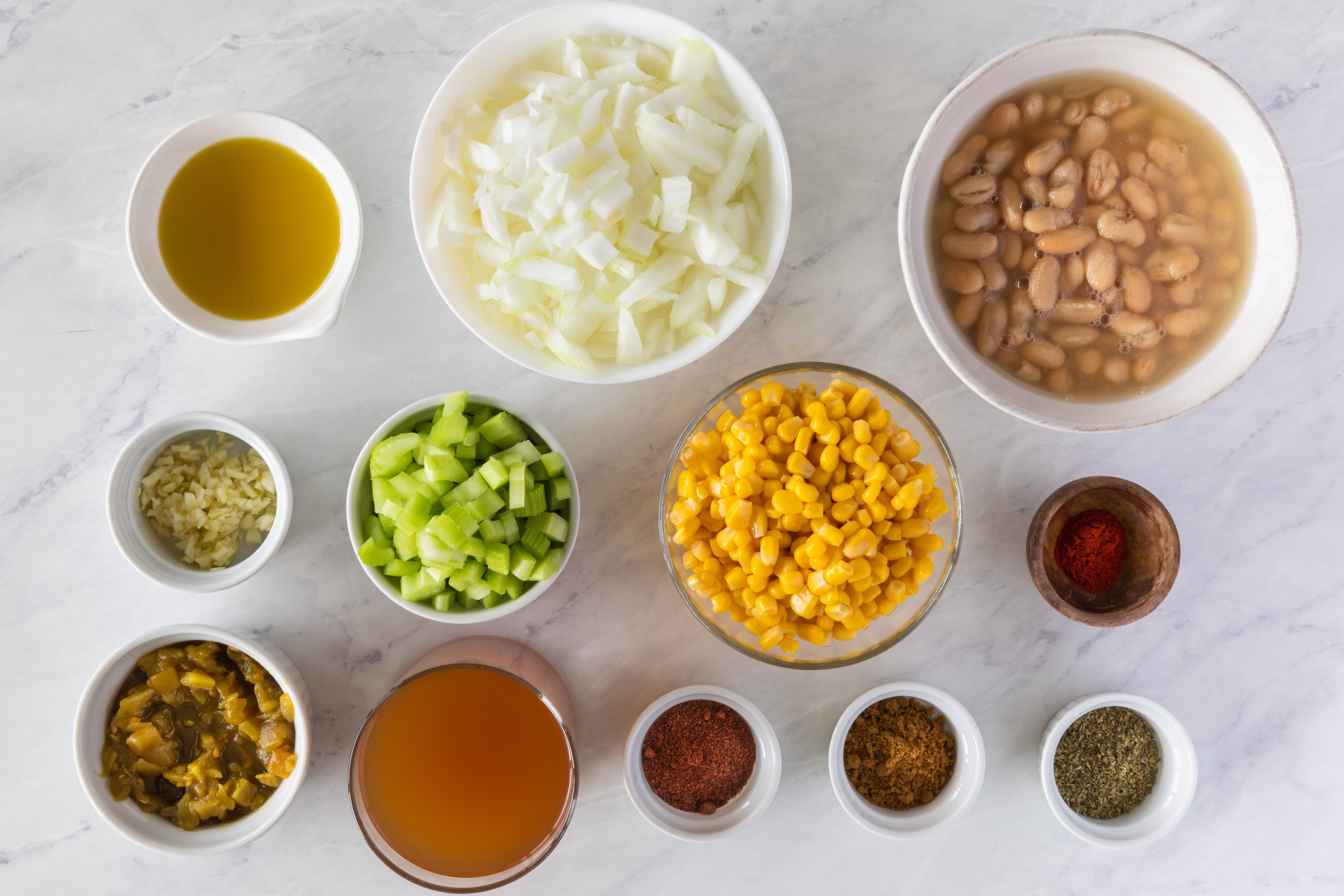 Ingredients for white bean chili