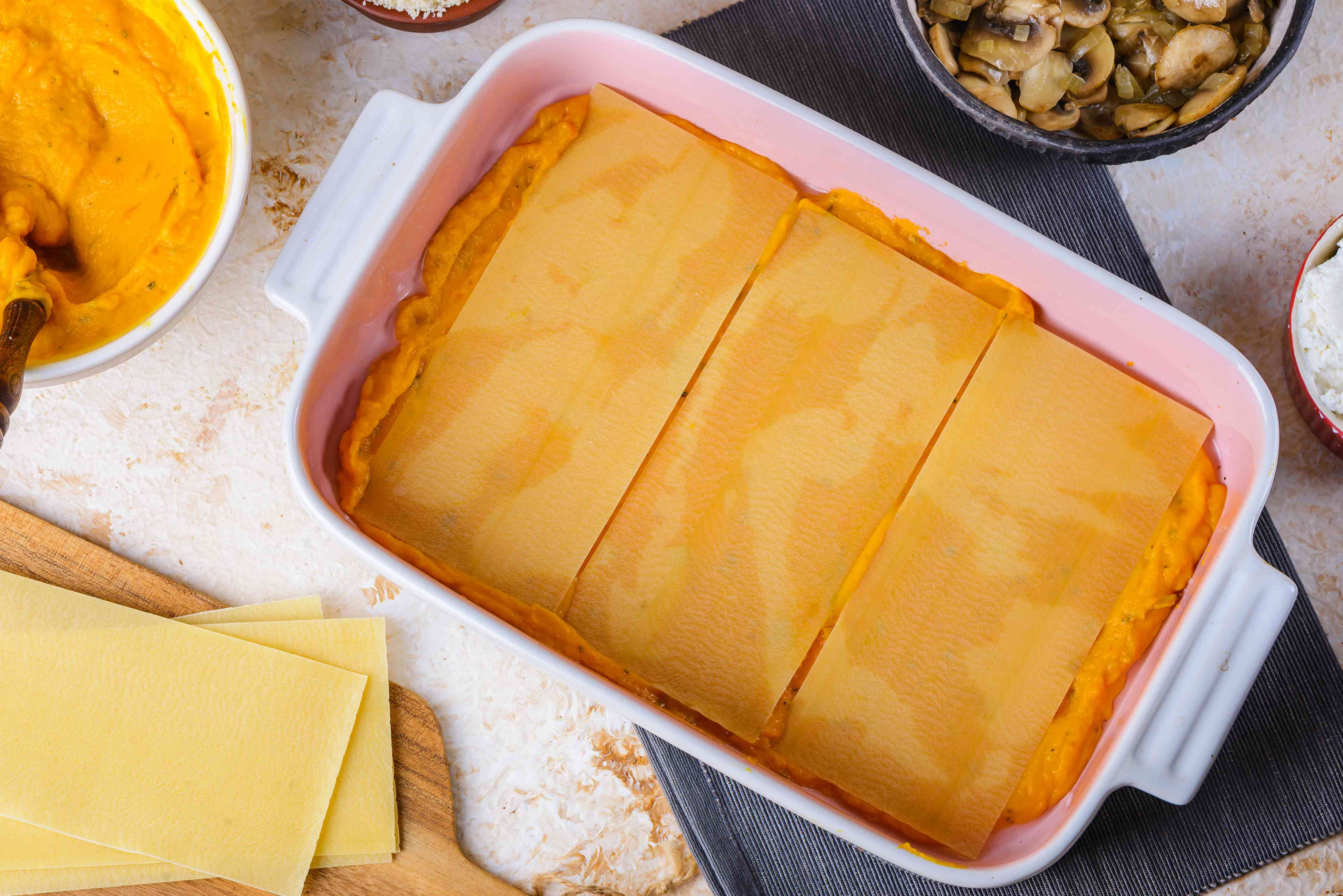 Spread pumpkin in baking dish