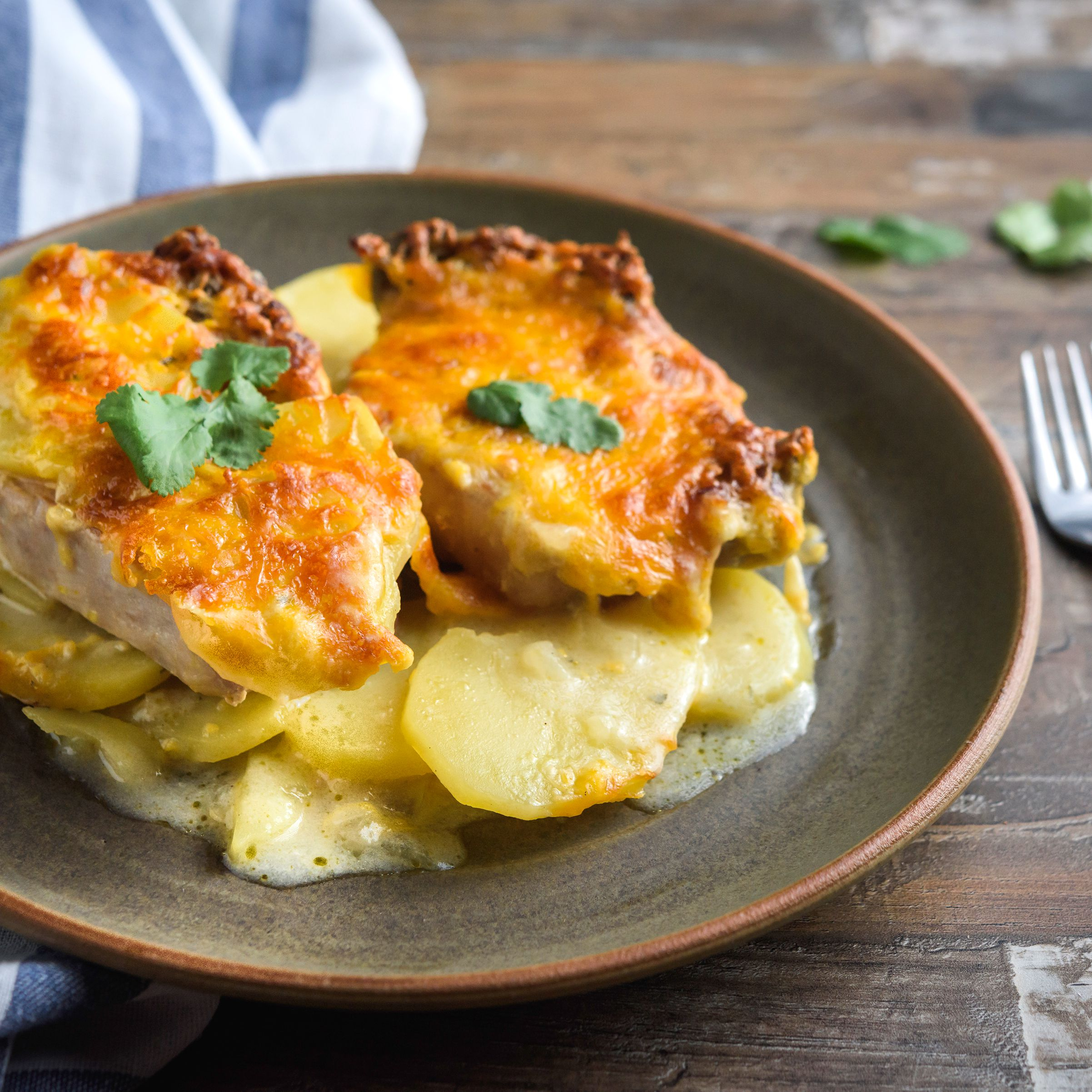 Easy Pork Chop Casserole With Cheese and Potatoes