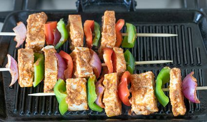 Put skewers on grill
